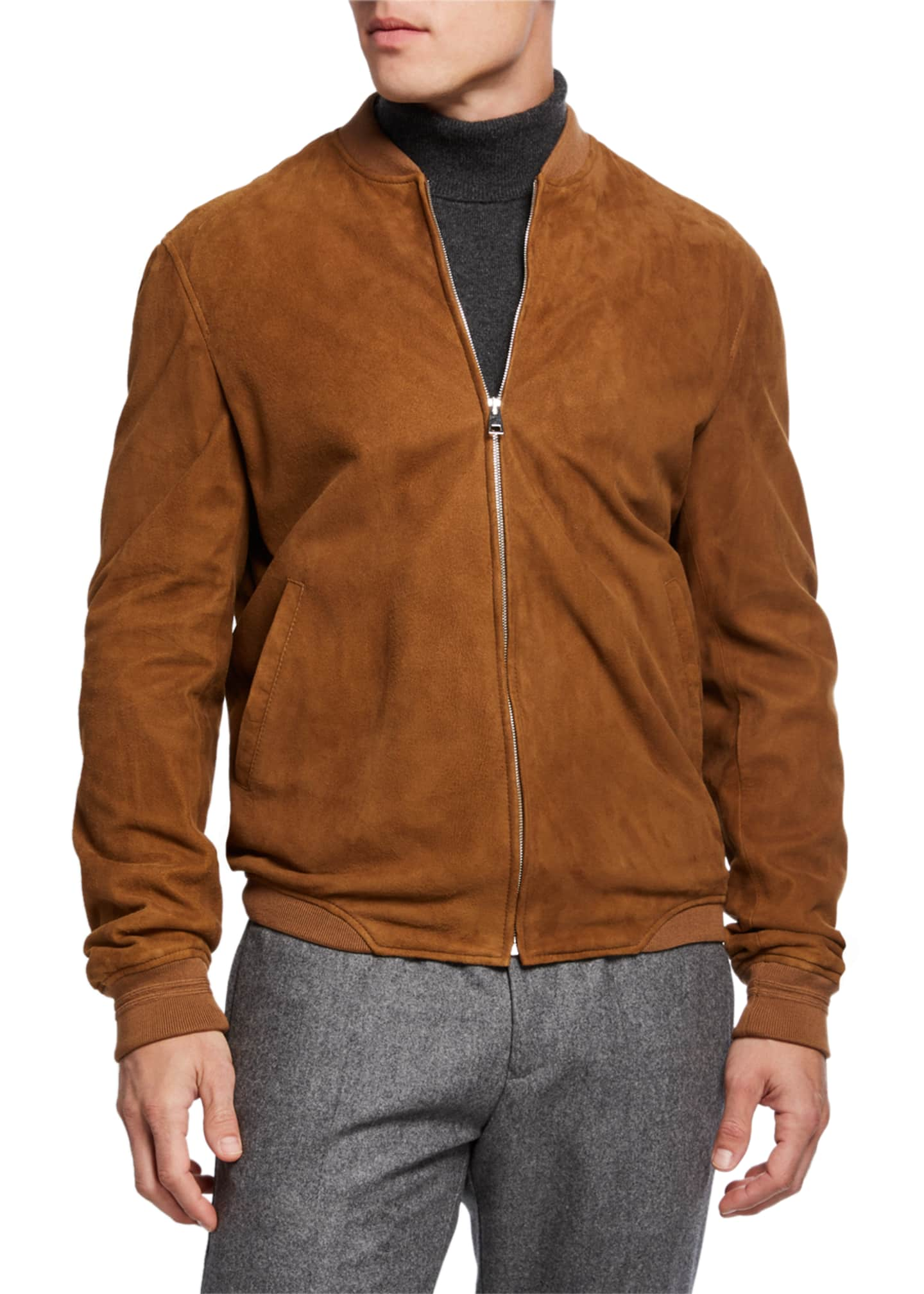 Image 3 of 3: Men's Alvar Lamb Suede Zip Bomber Jacket