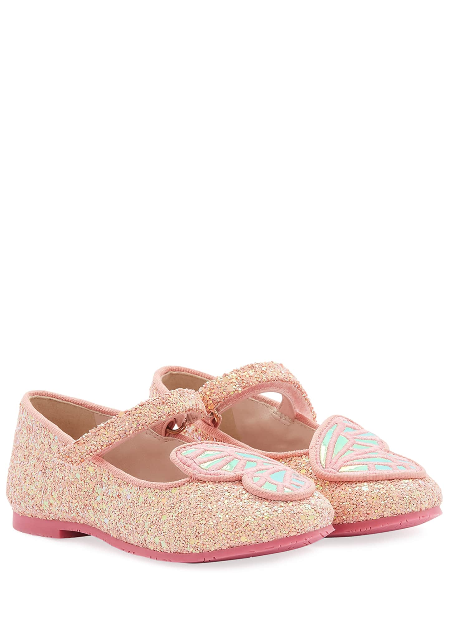 Sophia Webster Butterfly Embroidered Chunky Glitter Flats,