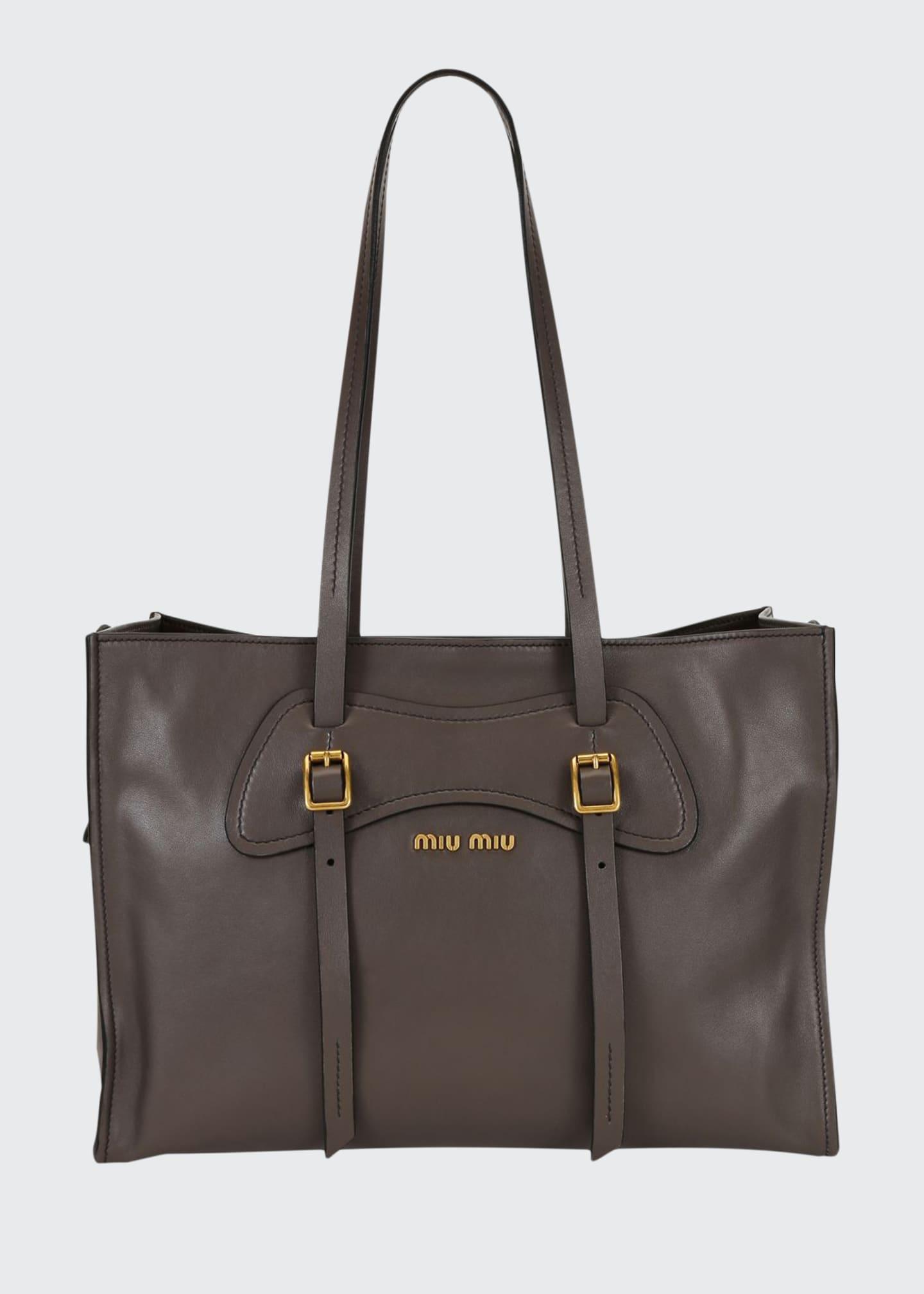 Miu Miu Grace Leather Logo Tote Bag