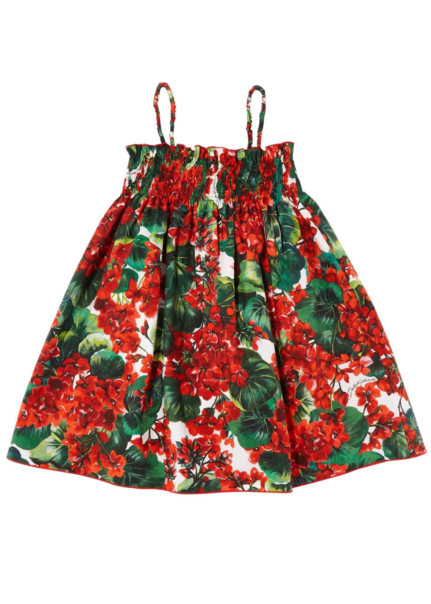 Dolce & Gabbana Geranium Print Smocked Poplin Dress,