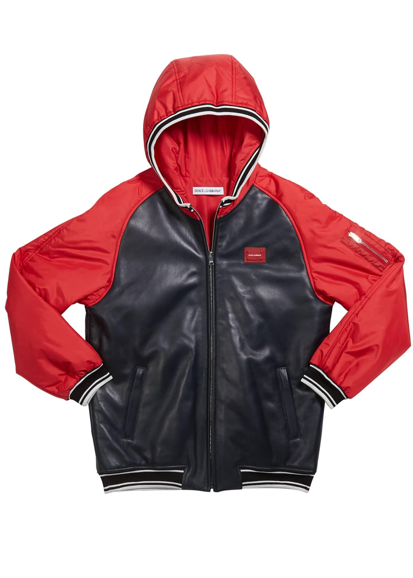 Dolce & Gabbana Boy's Leather Baseball Jacket, Size