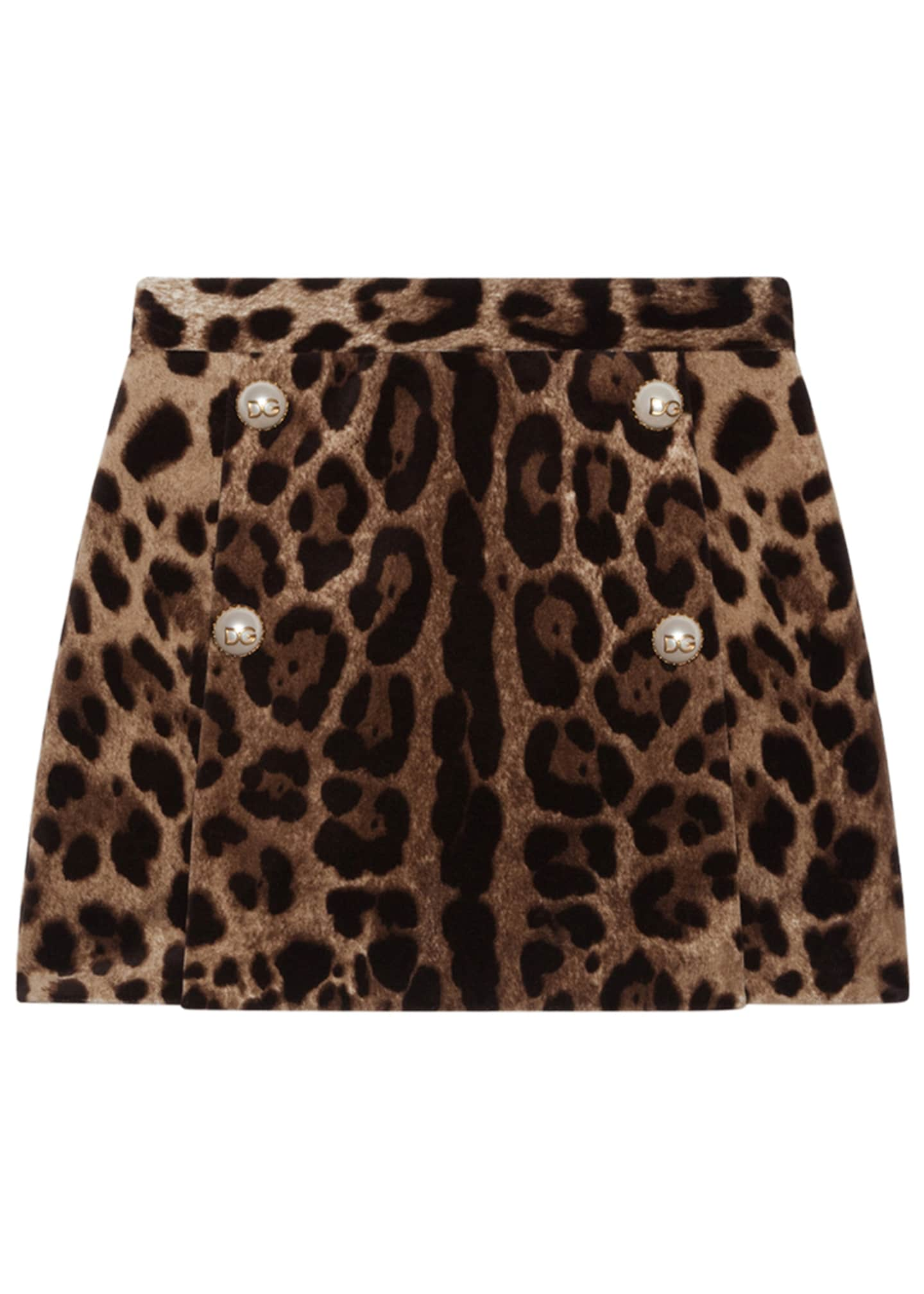 Dolce & Gabbana Girl's Leopard Print Velvet Skirt,