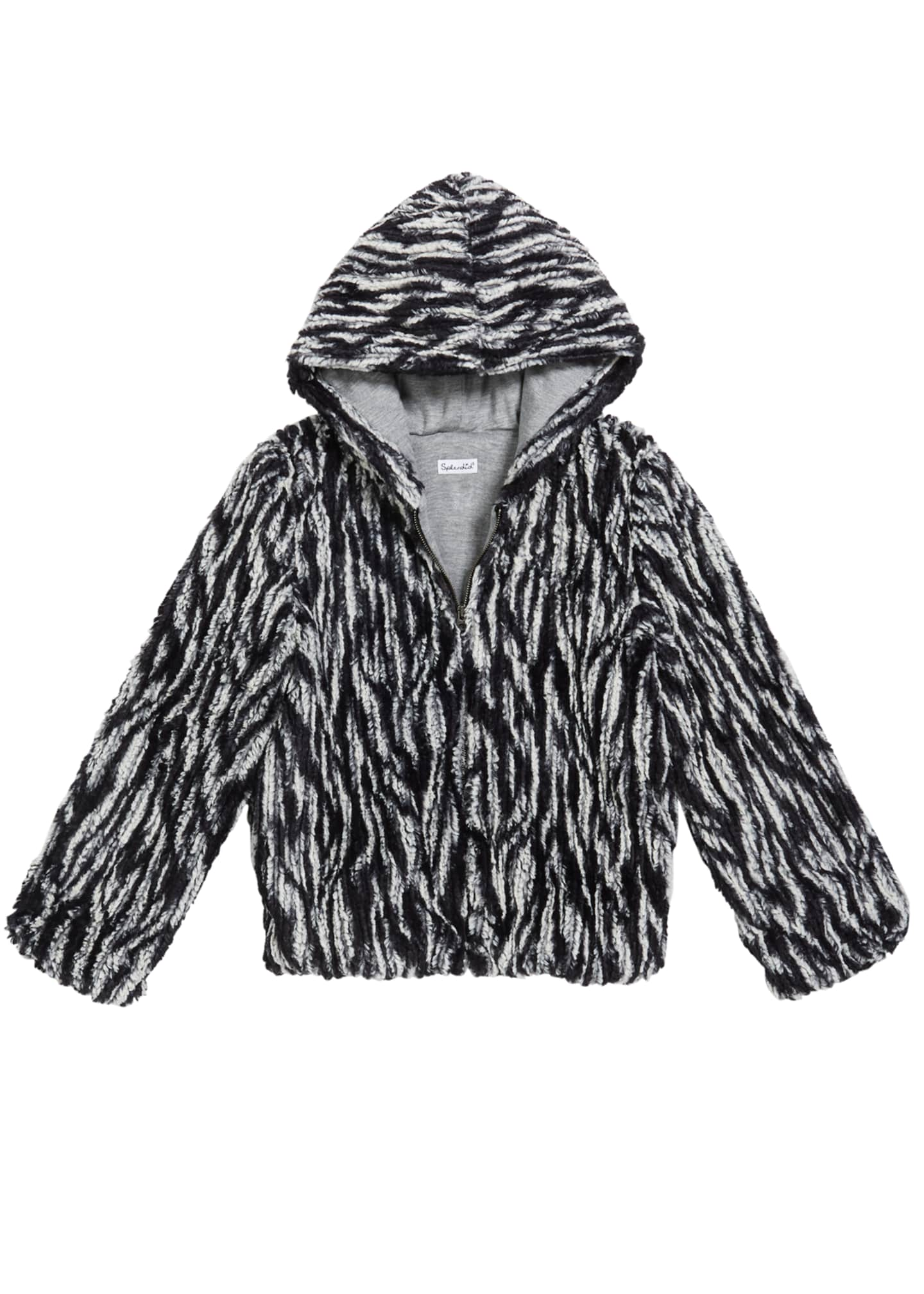 Image 1 of 1: Girl's Braid Faux Fur Hooded Jacket, Size 7-14