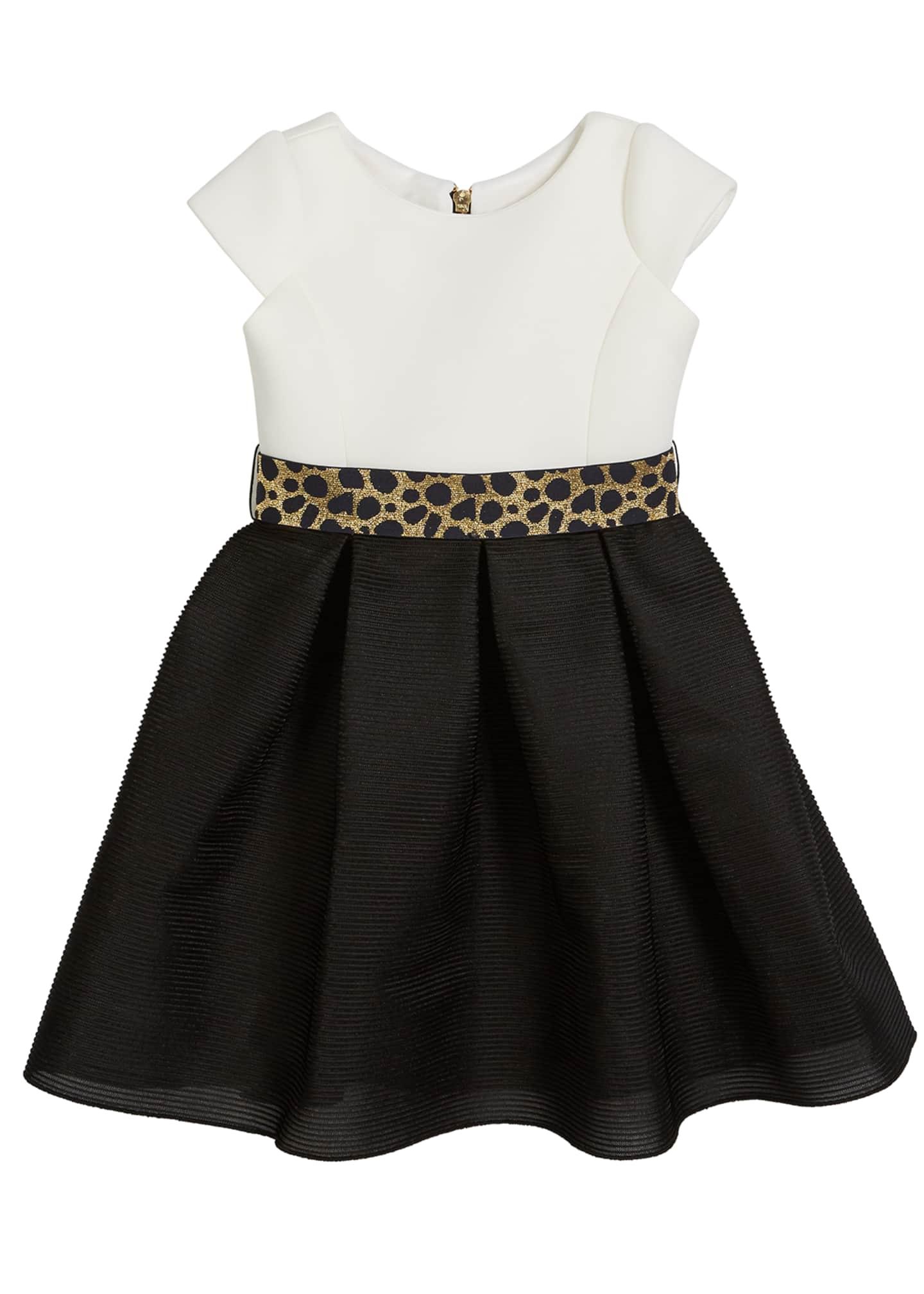 Zoe Brielle Two-Tone Knit Dress w/ Metallic Belt,