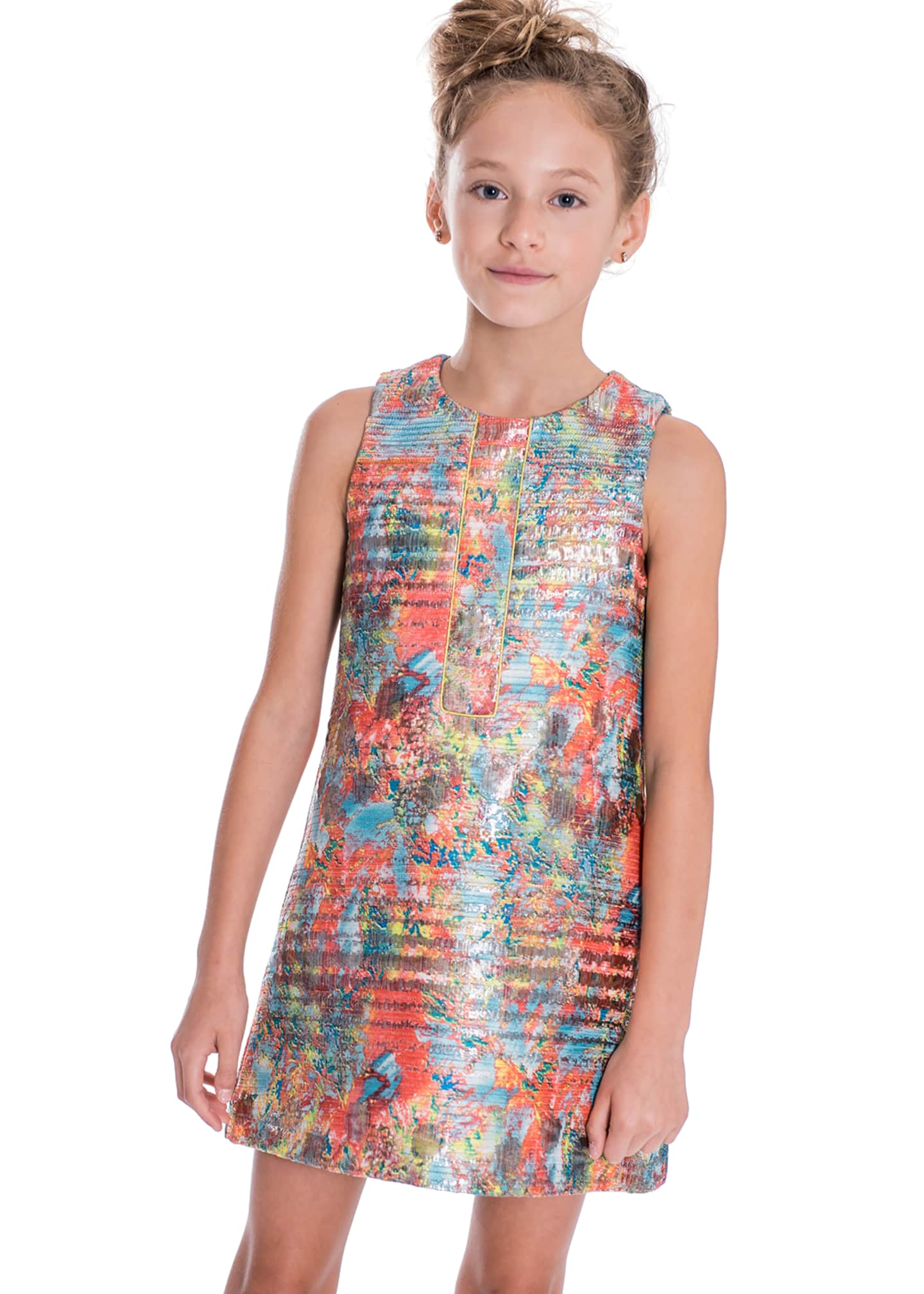 Image 2 of 3: Sienna Garden Woven Metallic Jacquard Shift Dress, Size 7-16