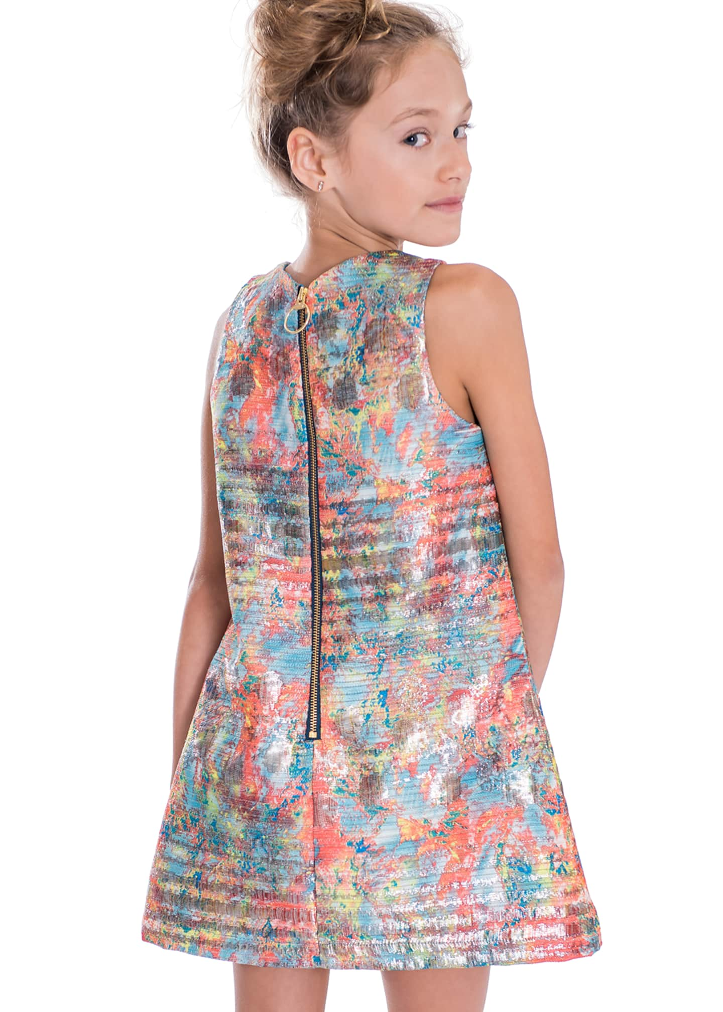 Image 3 of 3: Sienna Garden Woven Metallic Jacquard Shift Dress, Size 7-16