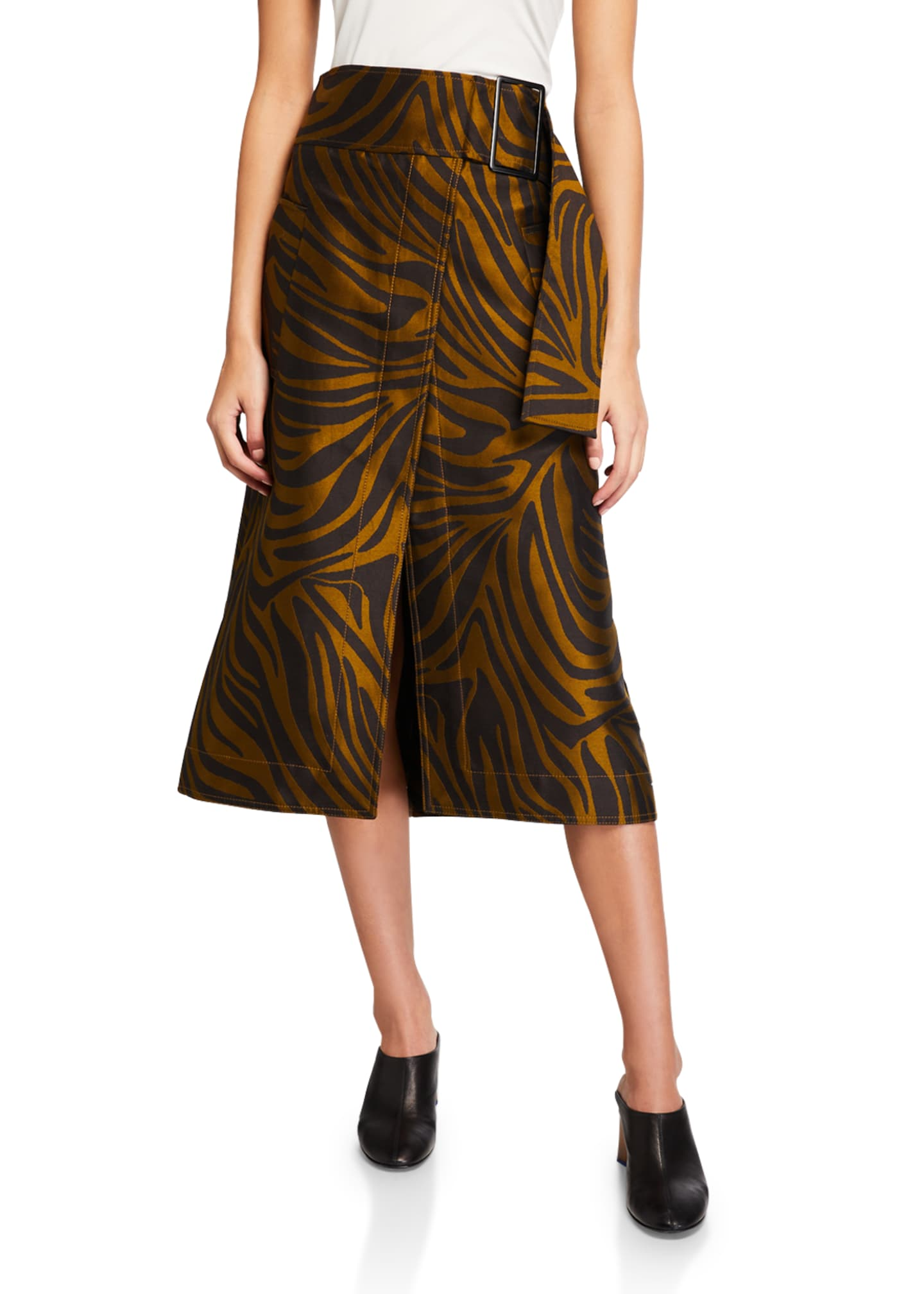 3.1 Phillip Lim Zebra-Print Belted Topstitch Skirt