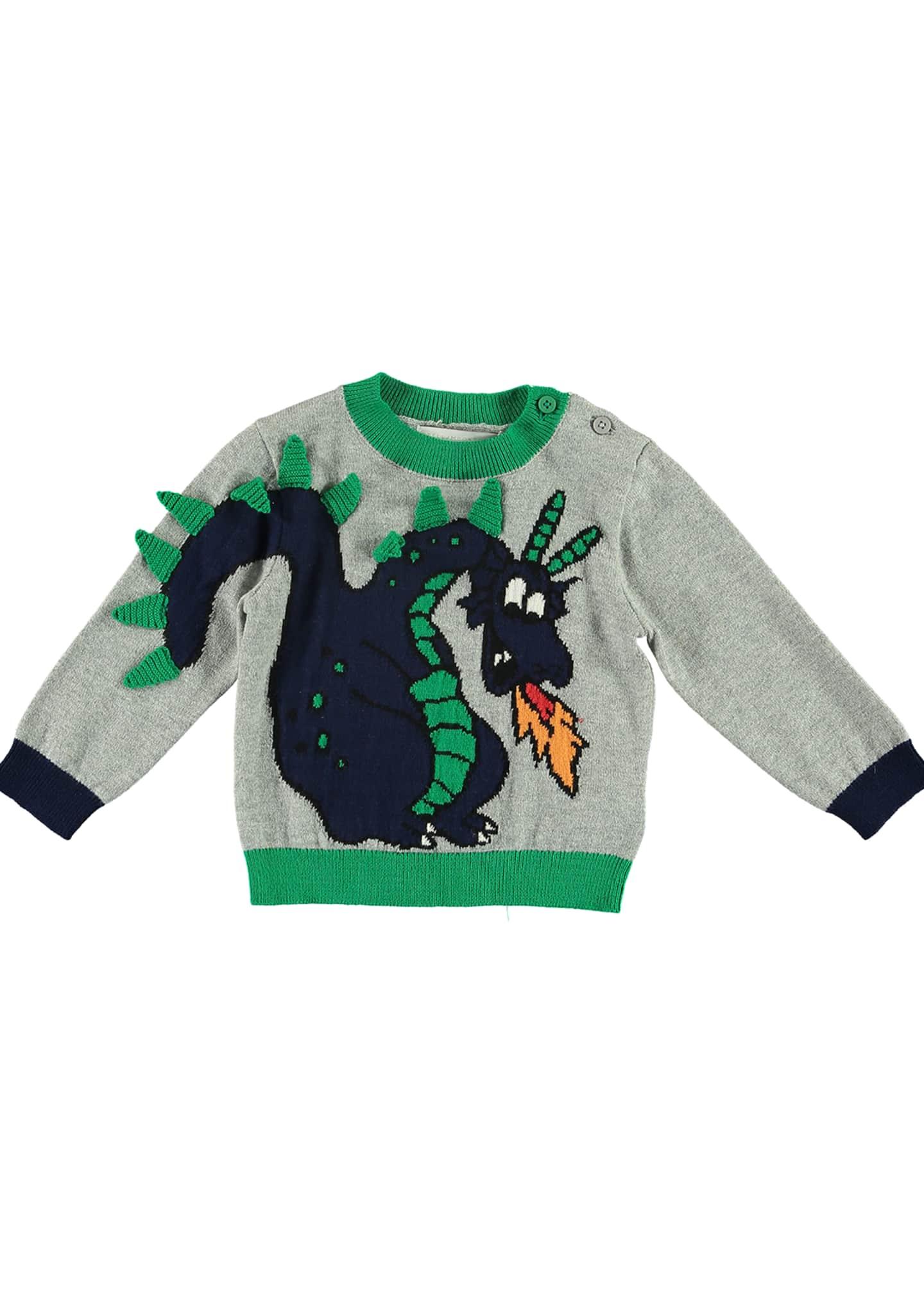 Stella McCartney Kids Boy's Dragon Knit Sweater, Size