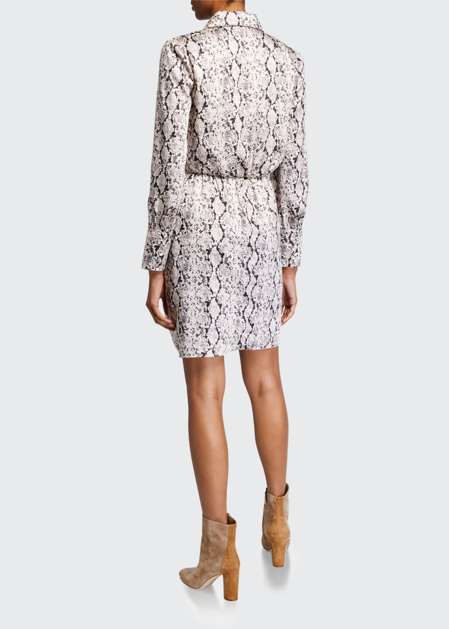 Image 2 of 2: Gaby Tie-Front Snake-Print Shirt Dress