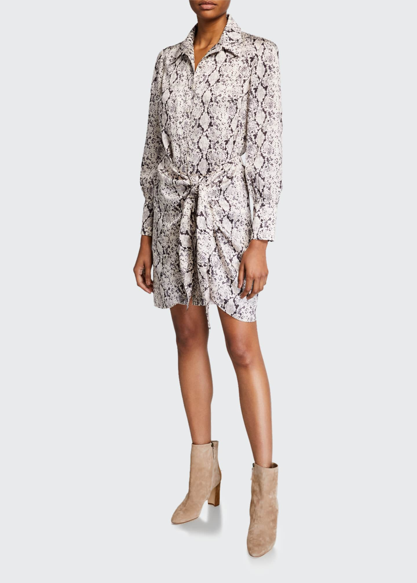 Image 1 of 2: Gaby Tie-Front Snake-Print Shirt Dress