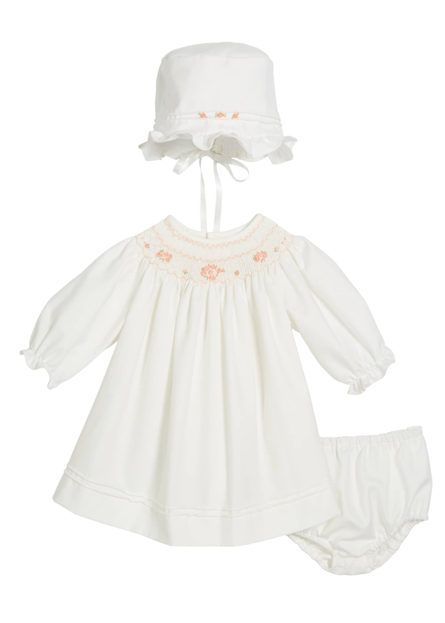 Luli & Me Long-Sleeve Bishop Dress w/ Bonnet