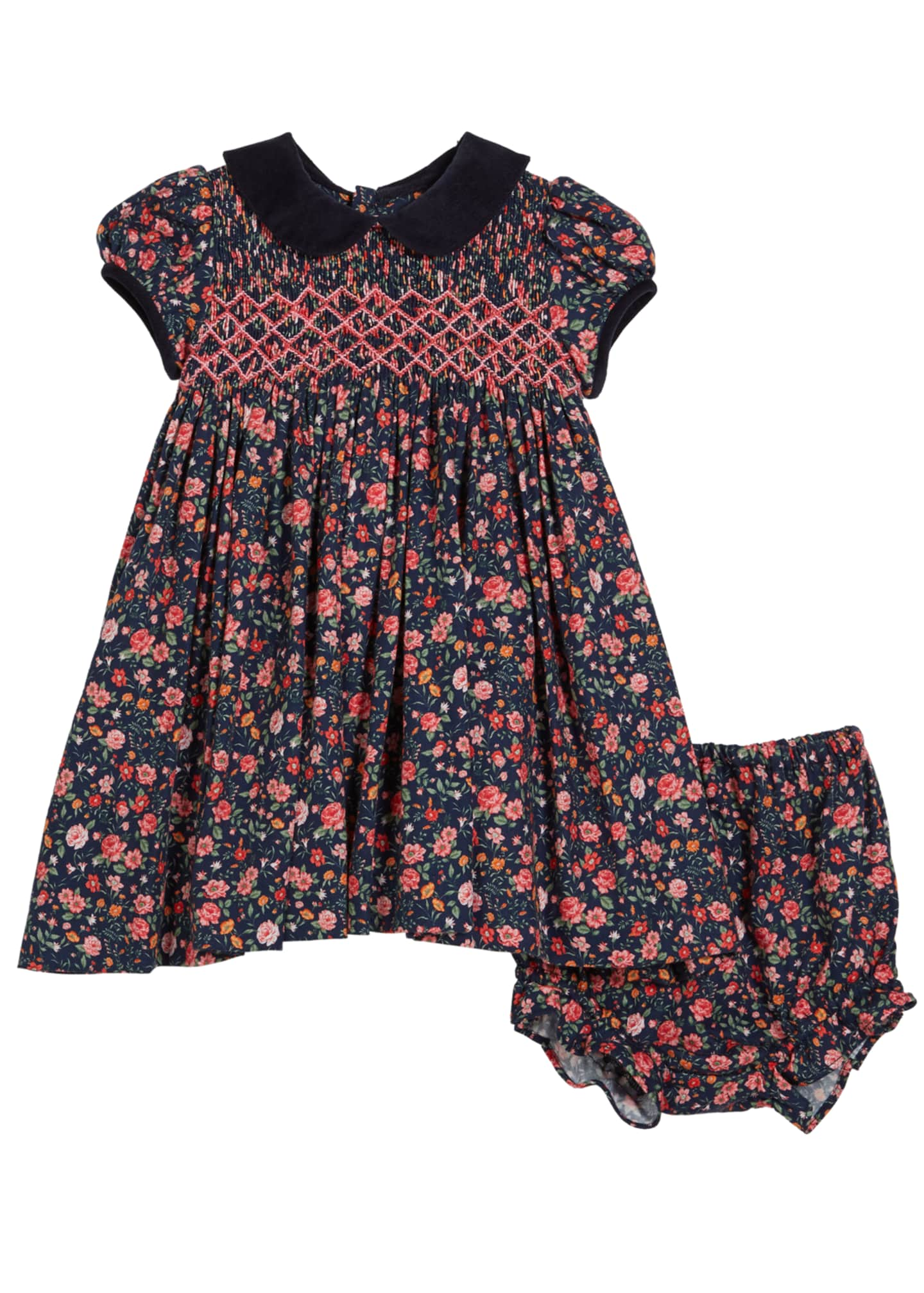 Luli & Me Floral Smocked Collared Dress w/