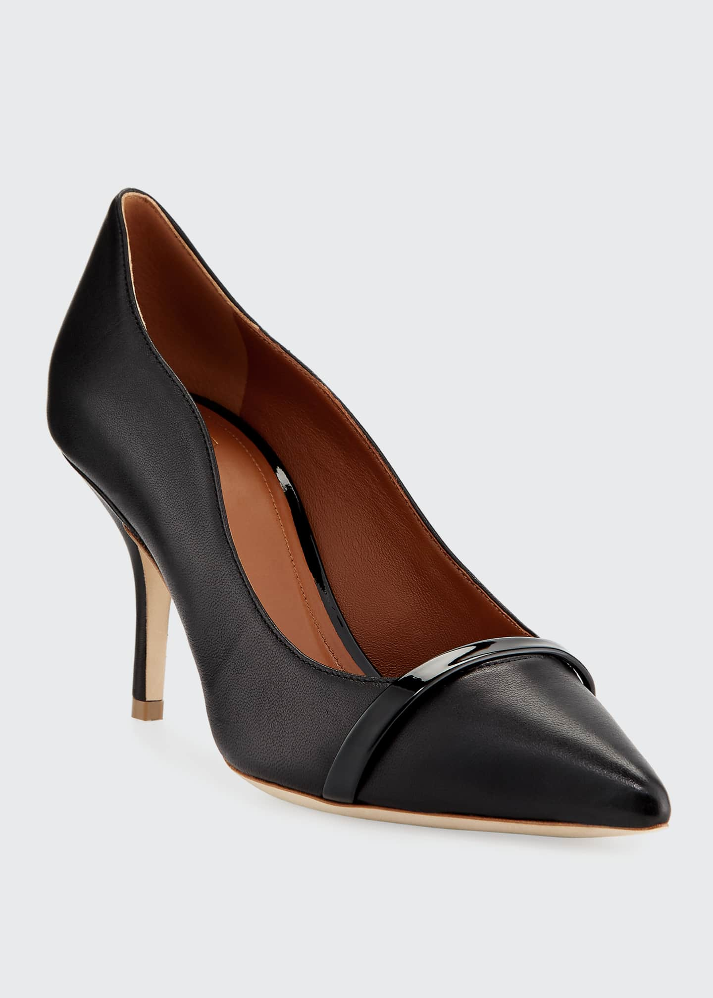 Image 2 of 4: Maybelle 70mm Scalloped Leather Pumps