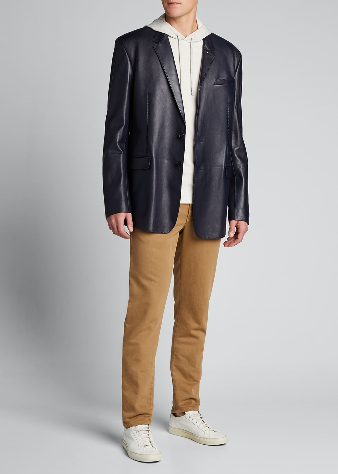 Berluti Men's Leather Two-Button Blazer