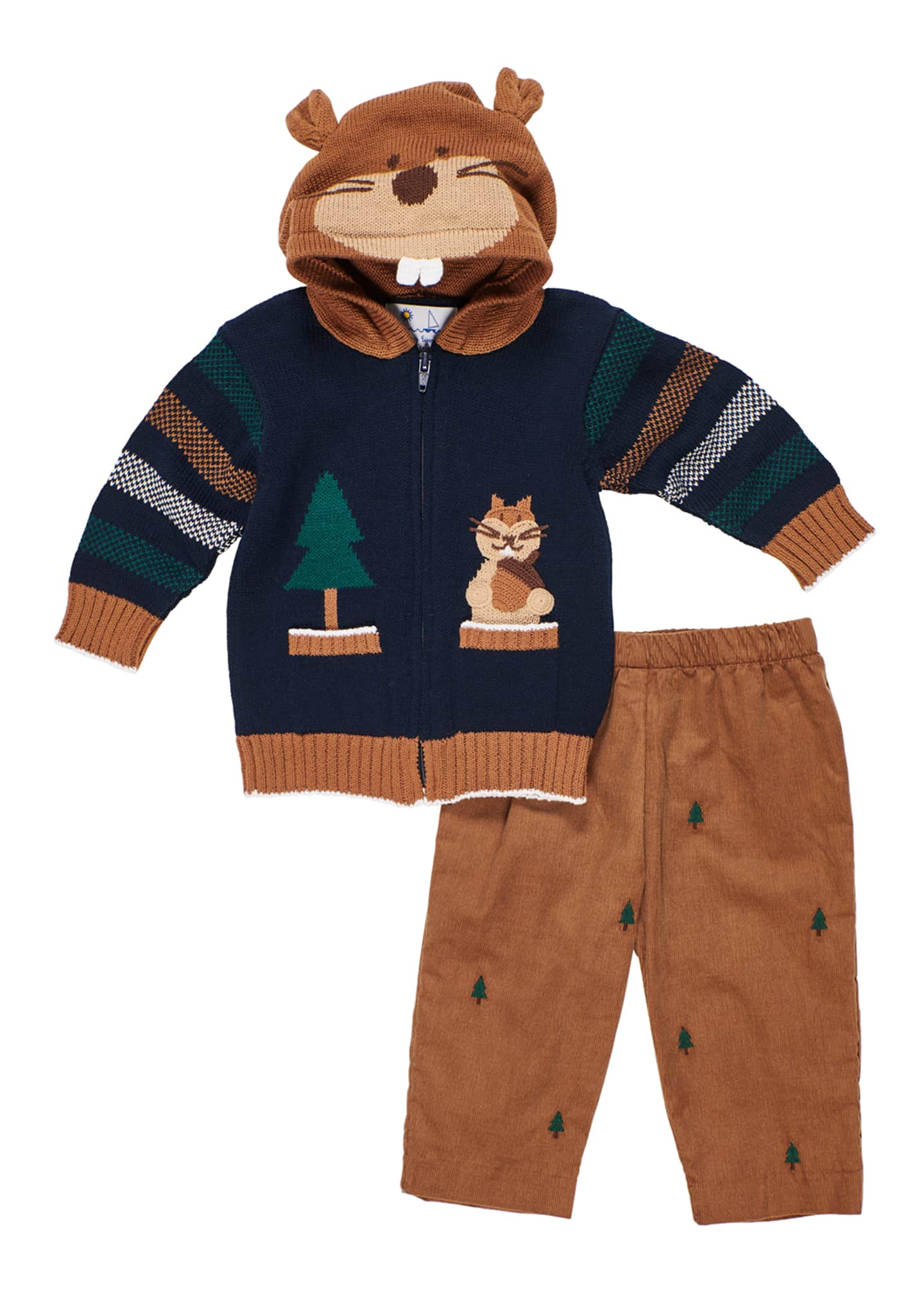 Florence Eiseman Hooded Zip-Up Squirrel Sweater w/ Tree