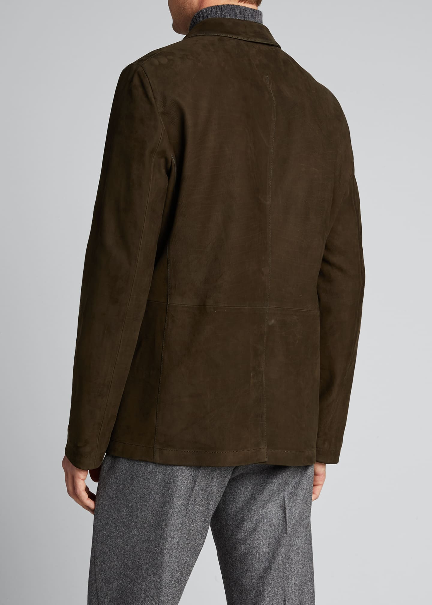 Image 2 of 5: Men's Two-Button Leather Jacket