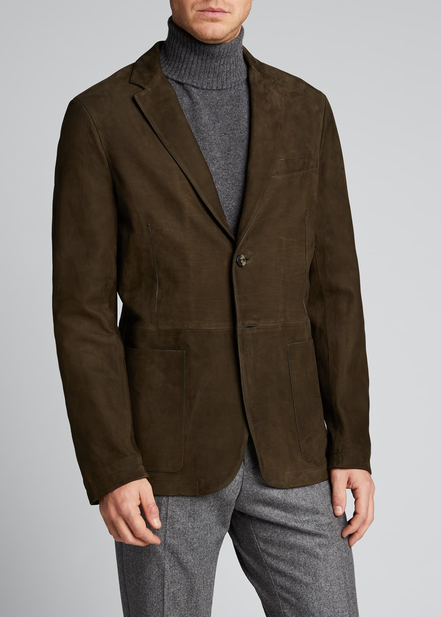 Image 3 of 5: Men's Two-Button Leather Jacket