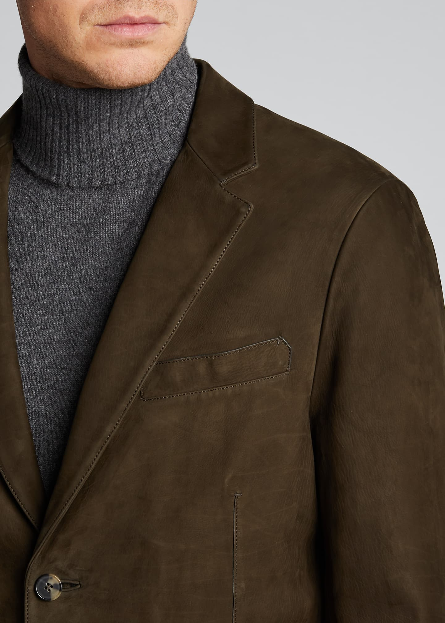 Image 4 of 5: Men's Two-Button Leather Jacket