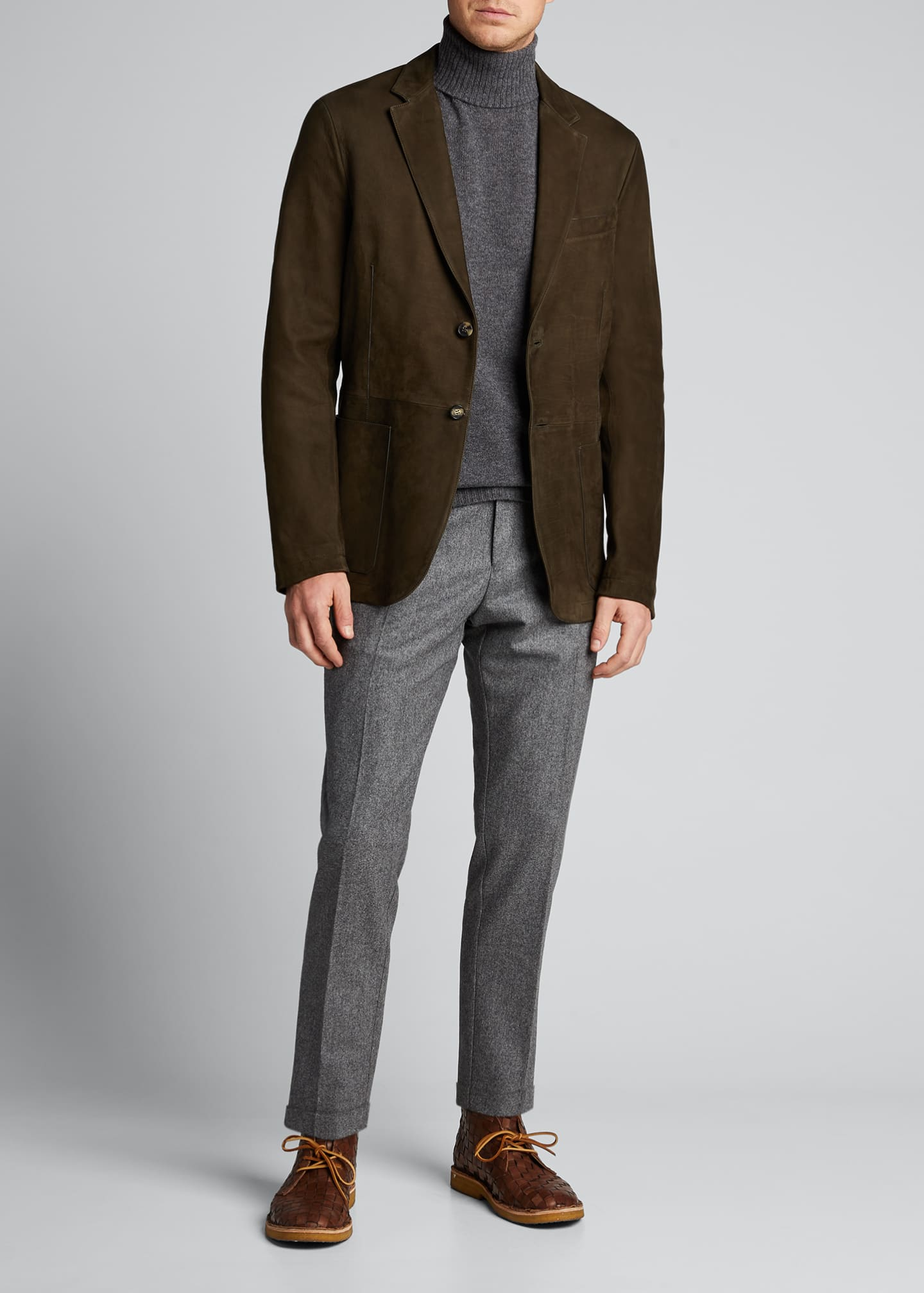 Image 1 of 5: Men's Two-Button Leather Jacket