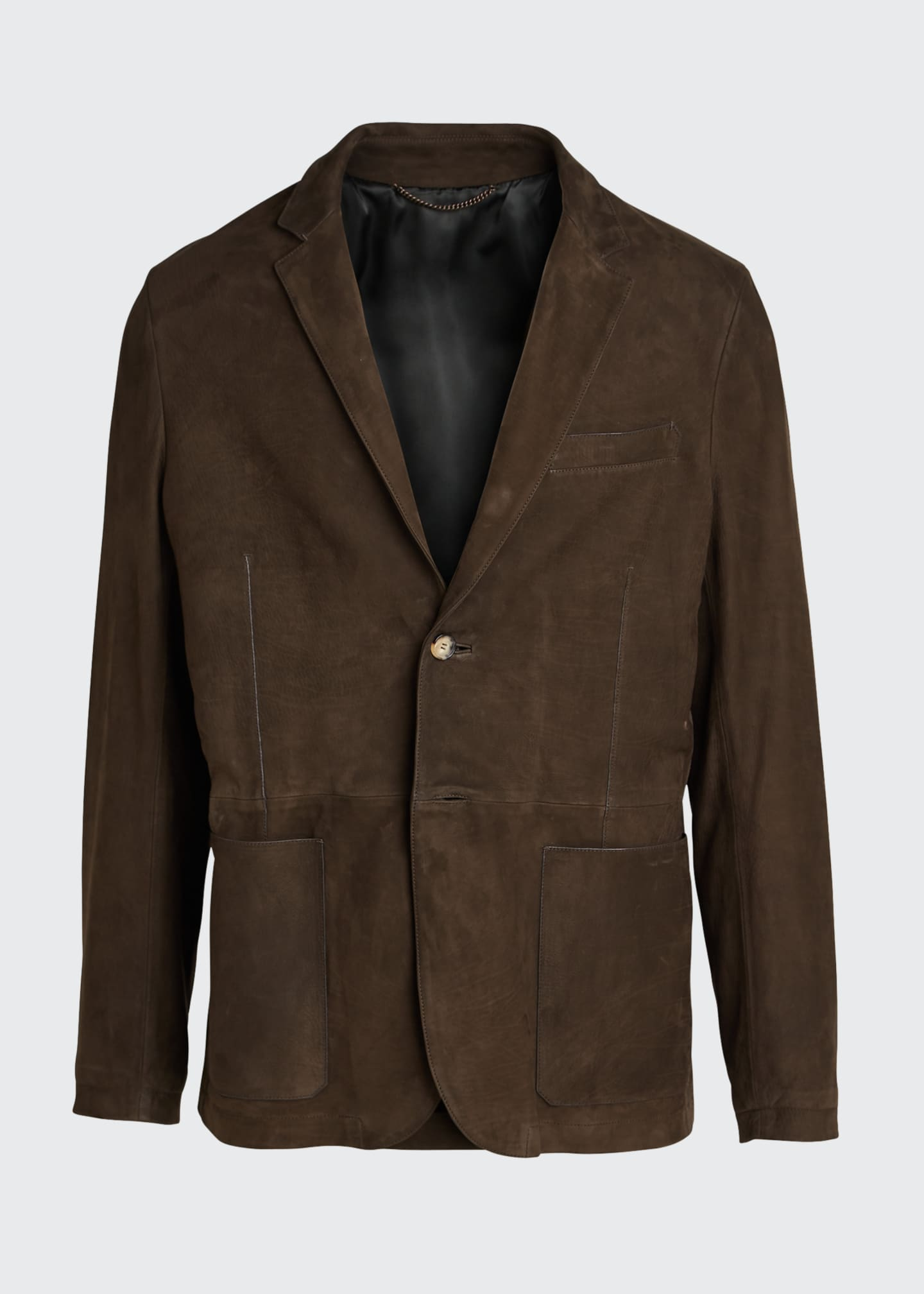 Image 5 of 5: Men's Two-Button Leather Jacket