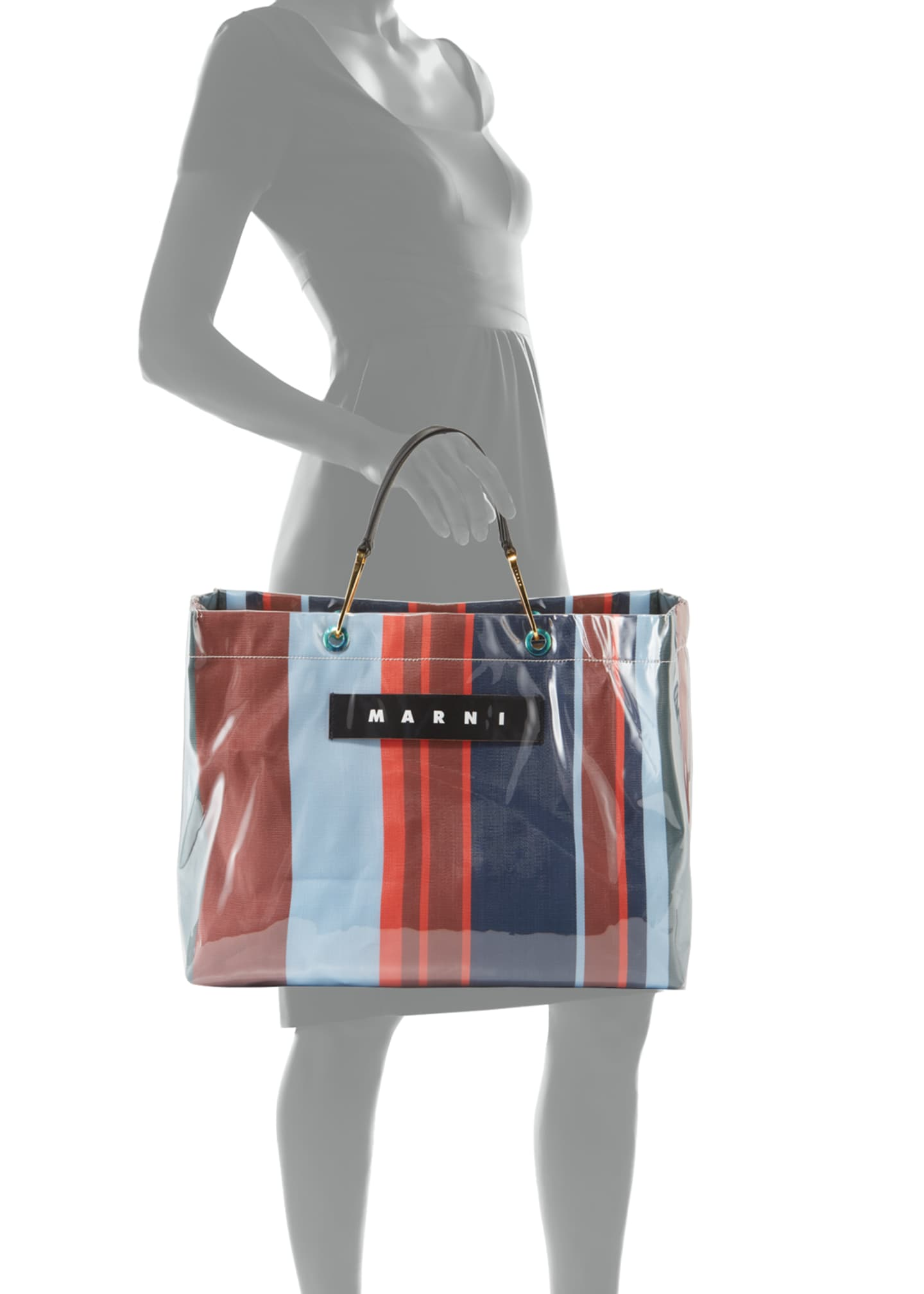 Image 3 of 3: Striped Shopper Tote Bag