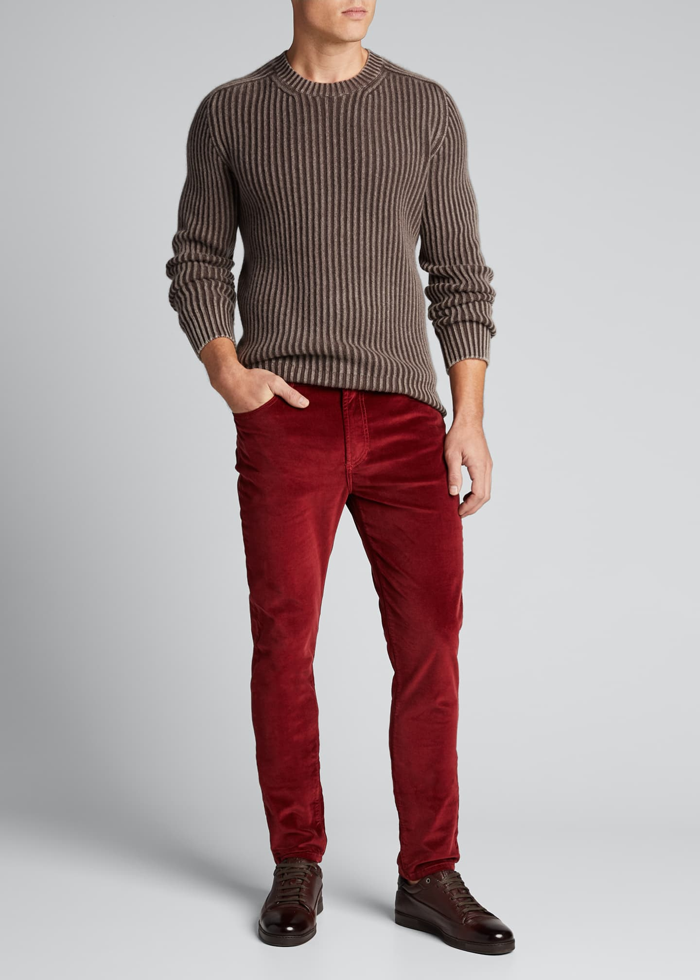 Iris Von Arnim Men's Stonewashed Ribbed Crewneck Sweater