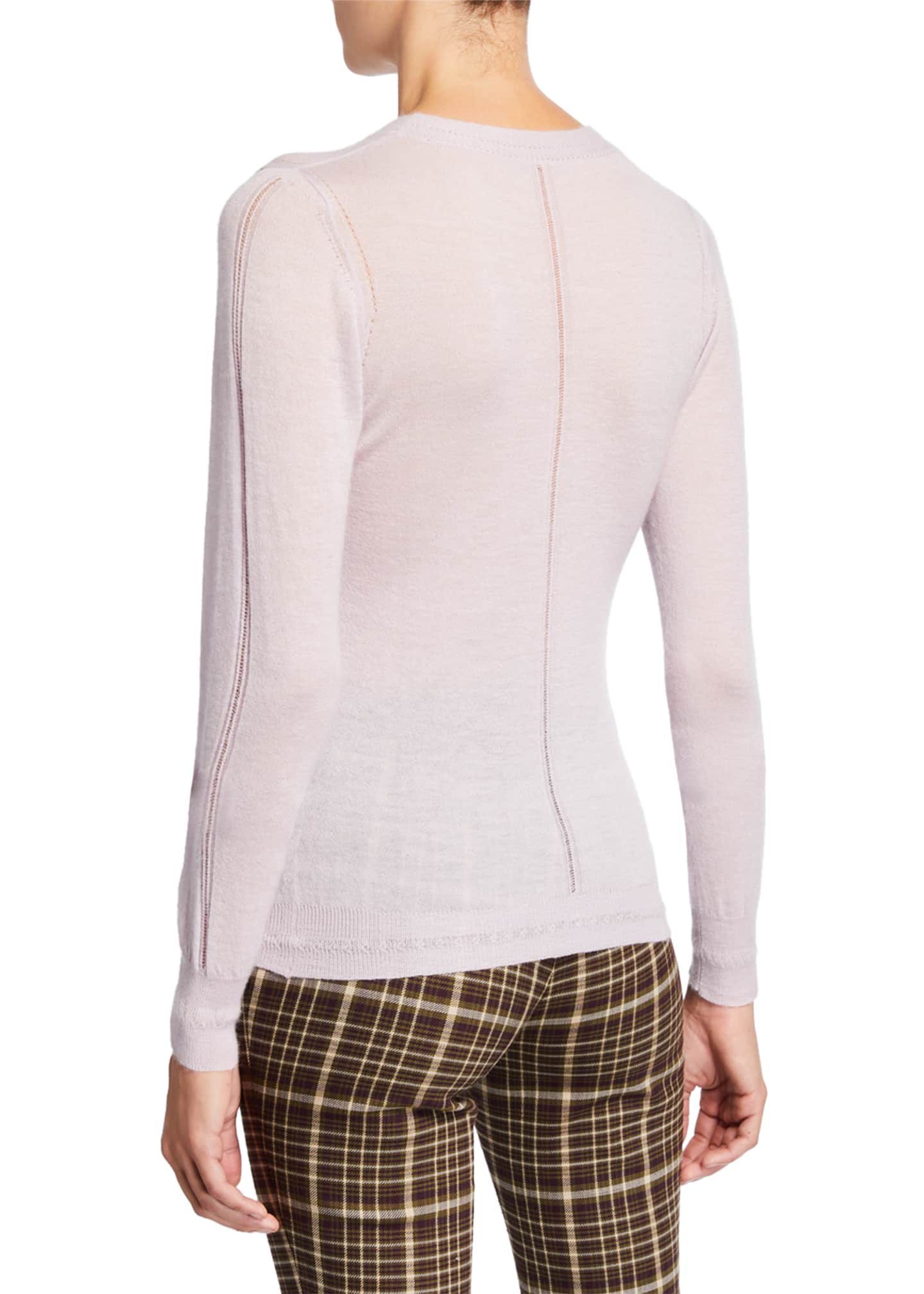 Image 2 of 2: Lightweight Cashmere Floral-Embroidered Sweater