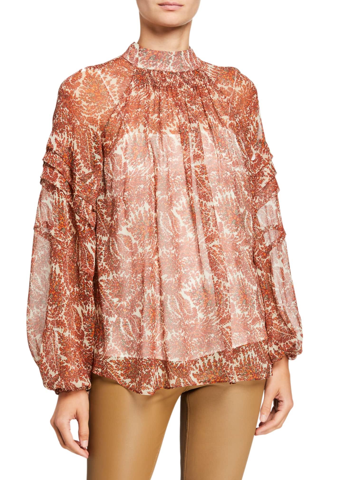 Adam Lippes Printed Silk Chiffon Smocked Blouse