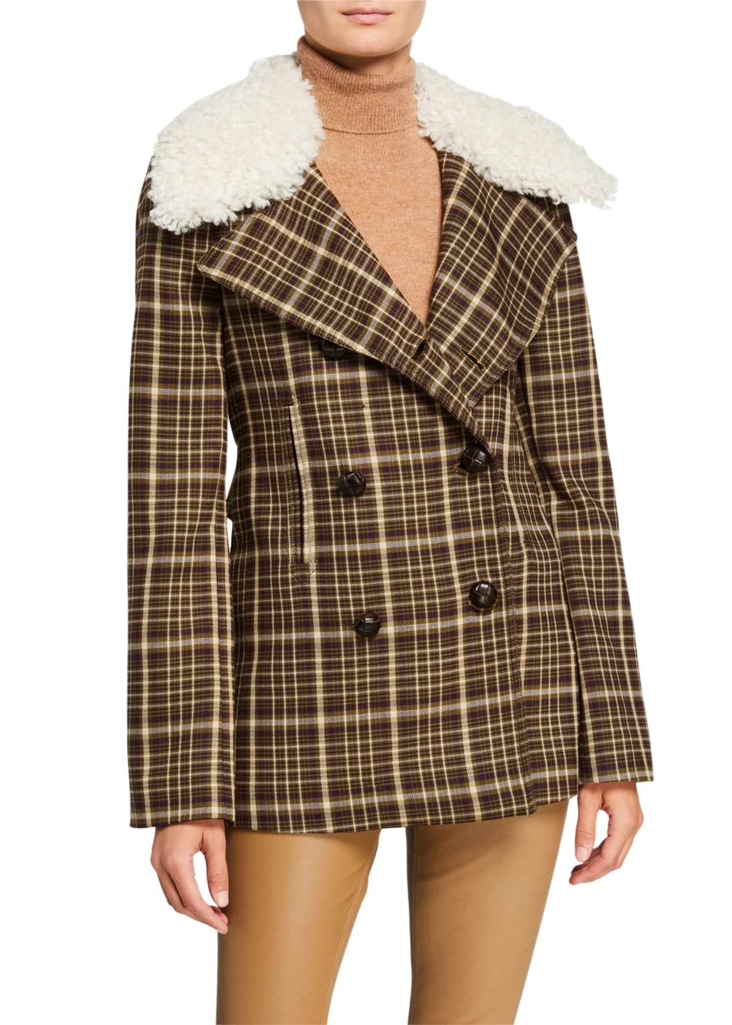 Image 2 of 3: Double-Face Plaid Wool Pea Coat with Shearling Collar