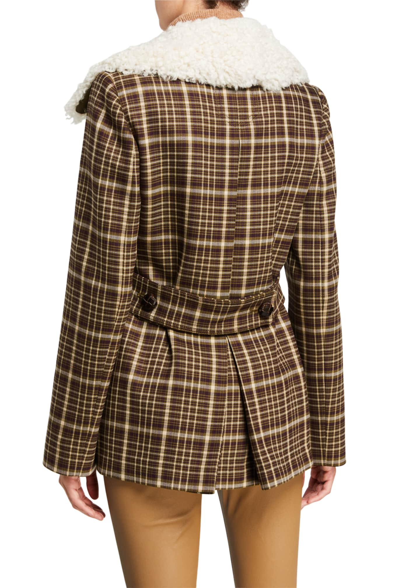 Image 3 of 3: Double-Face Plaid Wool Pea Coat with Shearling Collar