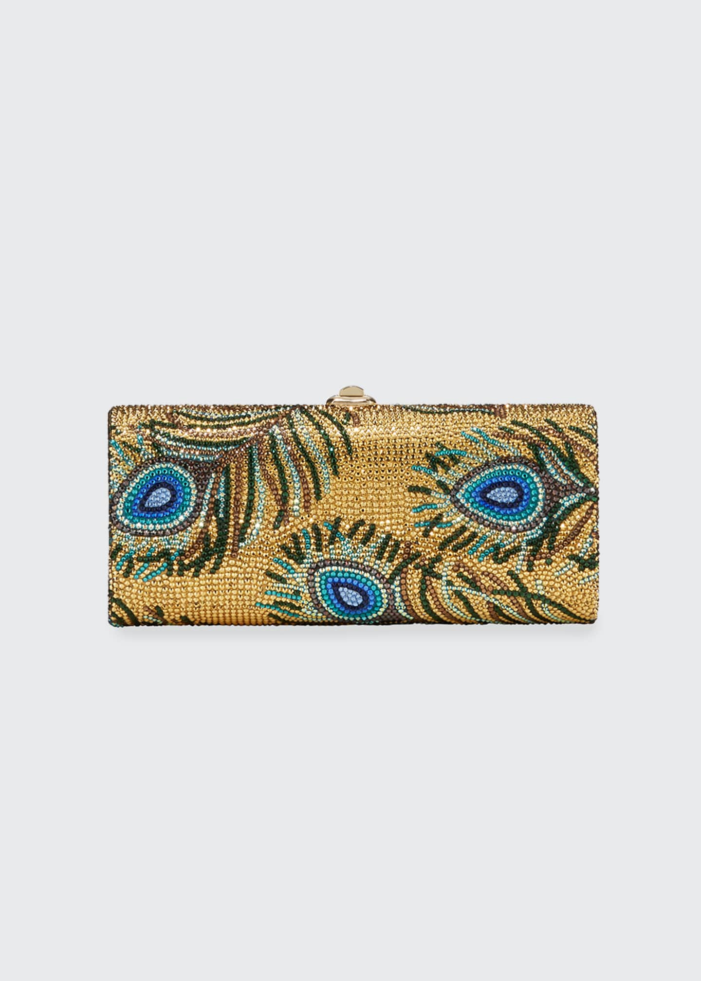 Image 1 of 2: Cylinder Peacock Feathers Clutch Bag