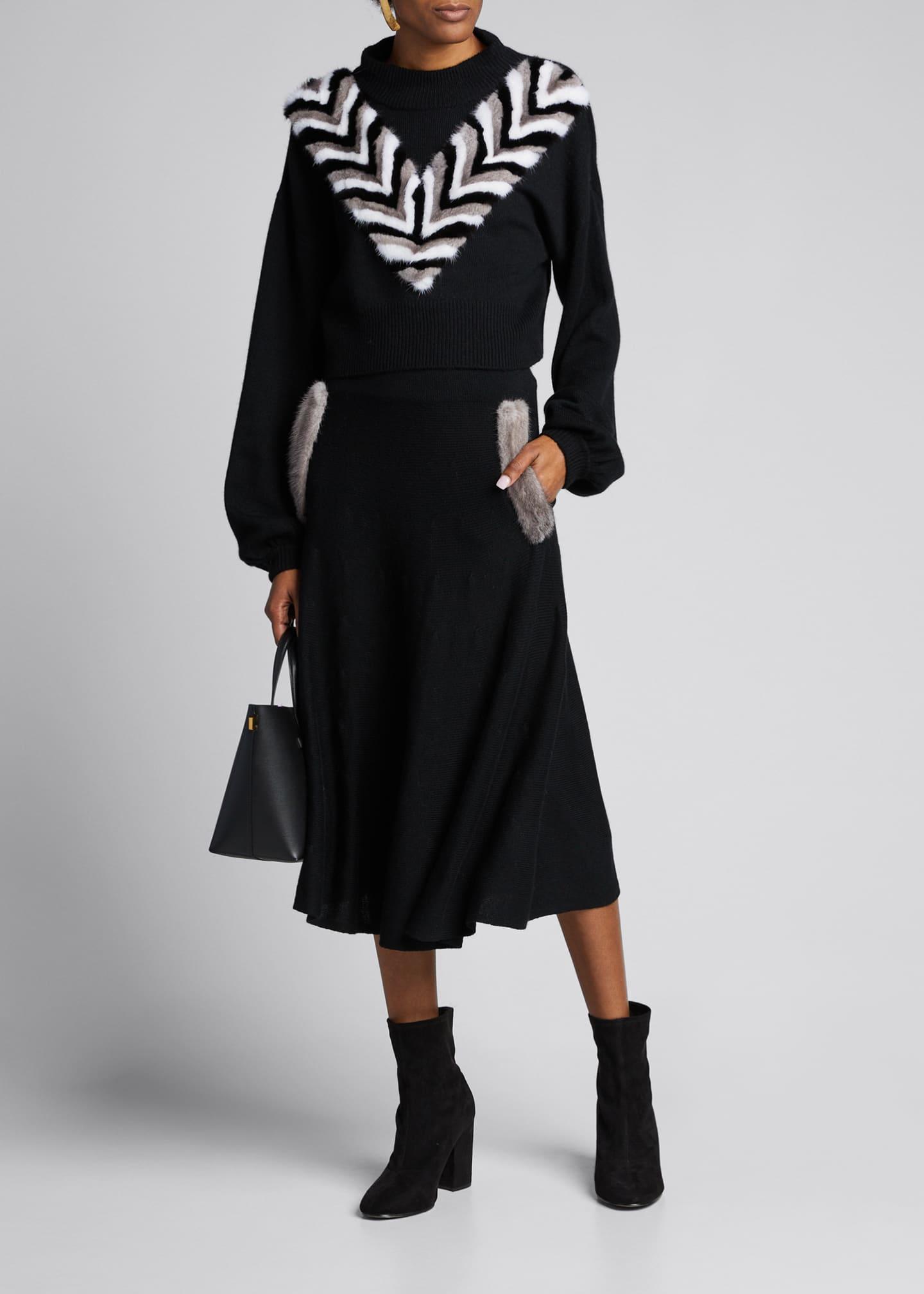 IZAAK AZANEI Wool-Cashmere Pullover Sweater with Mink Trim