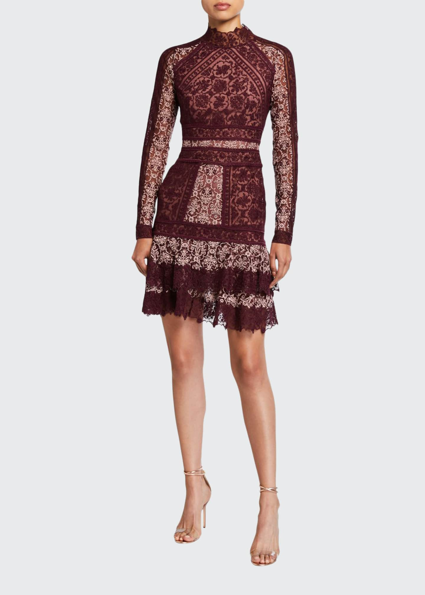 Jonathan Simkhai Scarf-Print Embroidered Ruffle Mini Dress