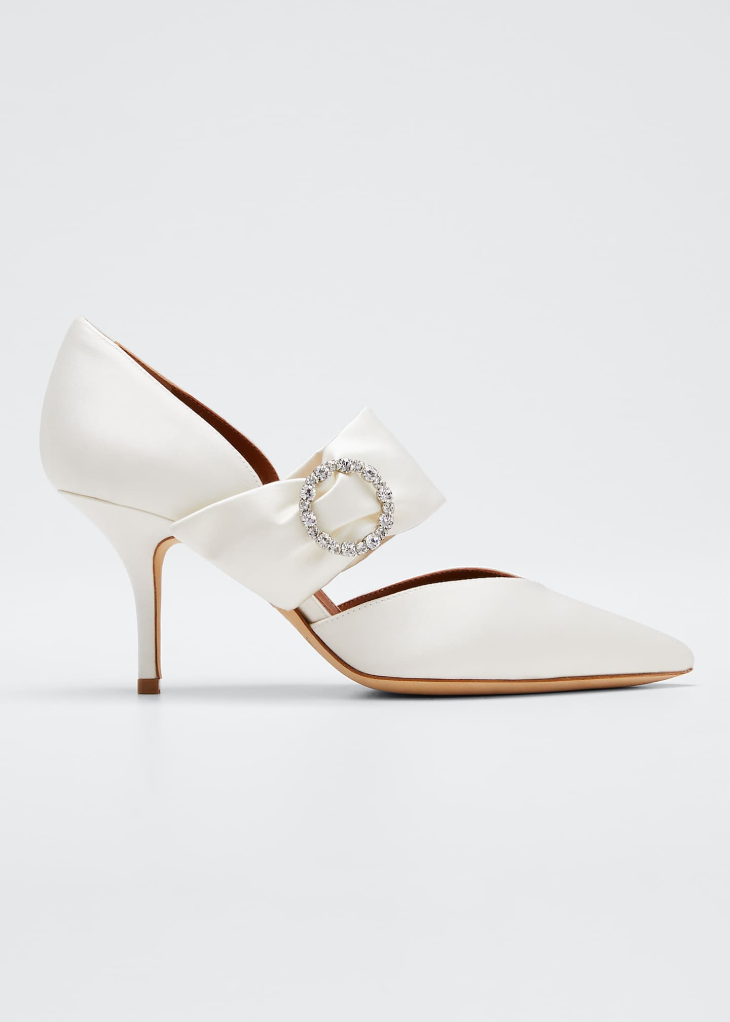 Malone Souliers Maite Crystal-Buckle Satin Point-Toe Pumps