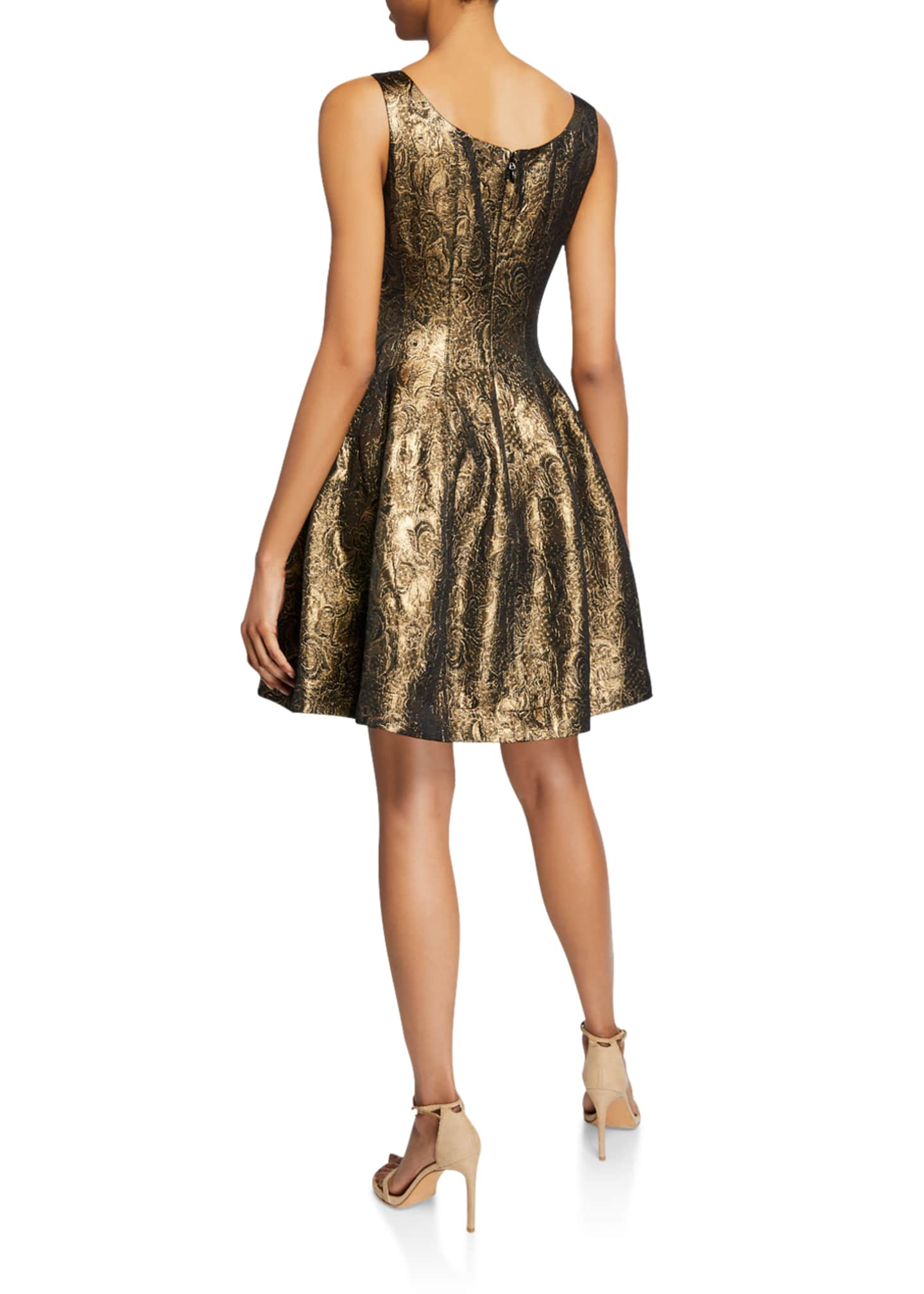 Image 2 of 2: Metallic Jacquard Fit-&-Flare Dress