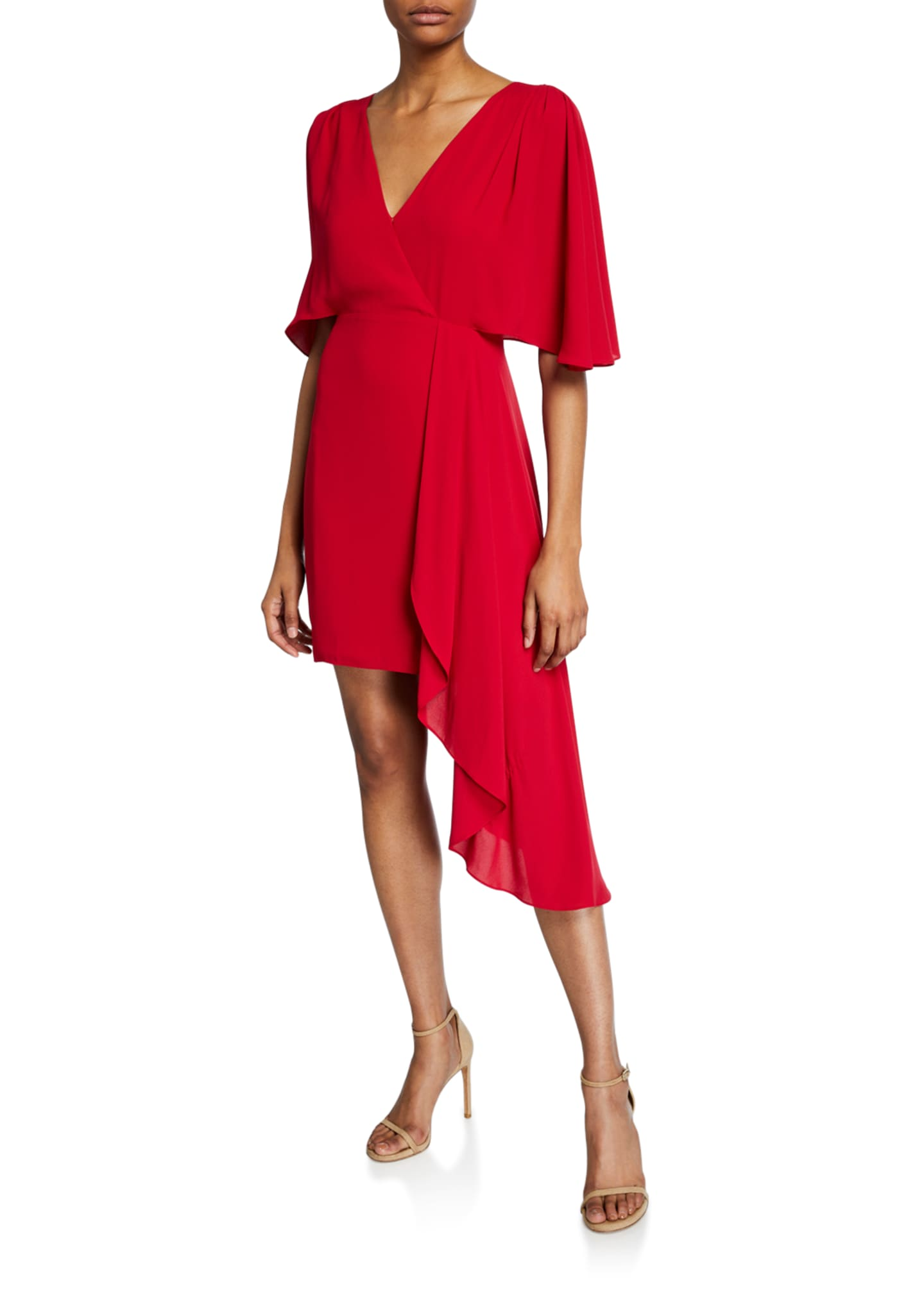 Halston Flowy Short-Sleeve Faux-Wrap Dress w/ Asymmetric Drape