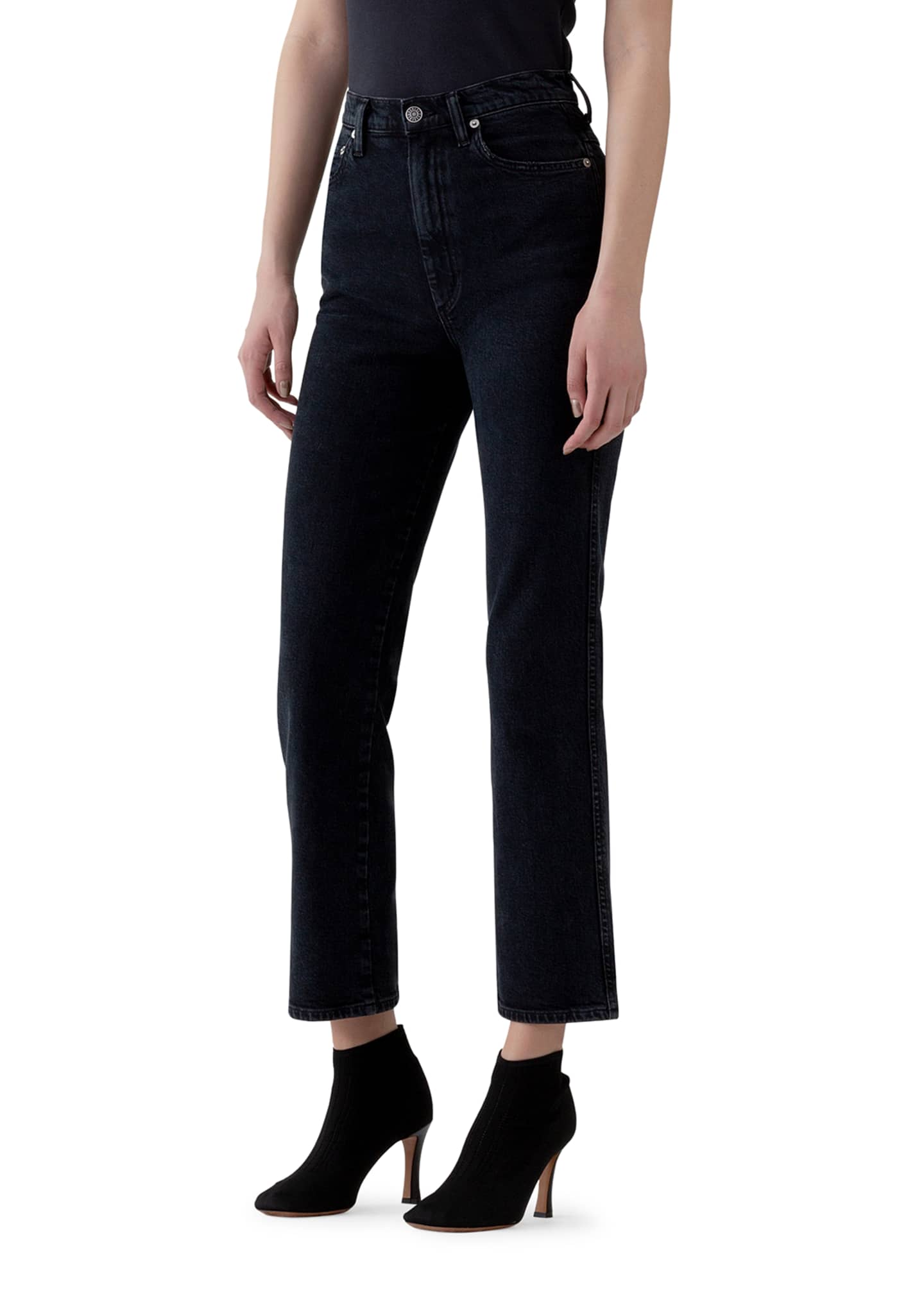 Image 2 of 3: Pinch Waist High-Rise Straight Jeans