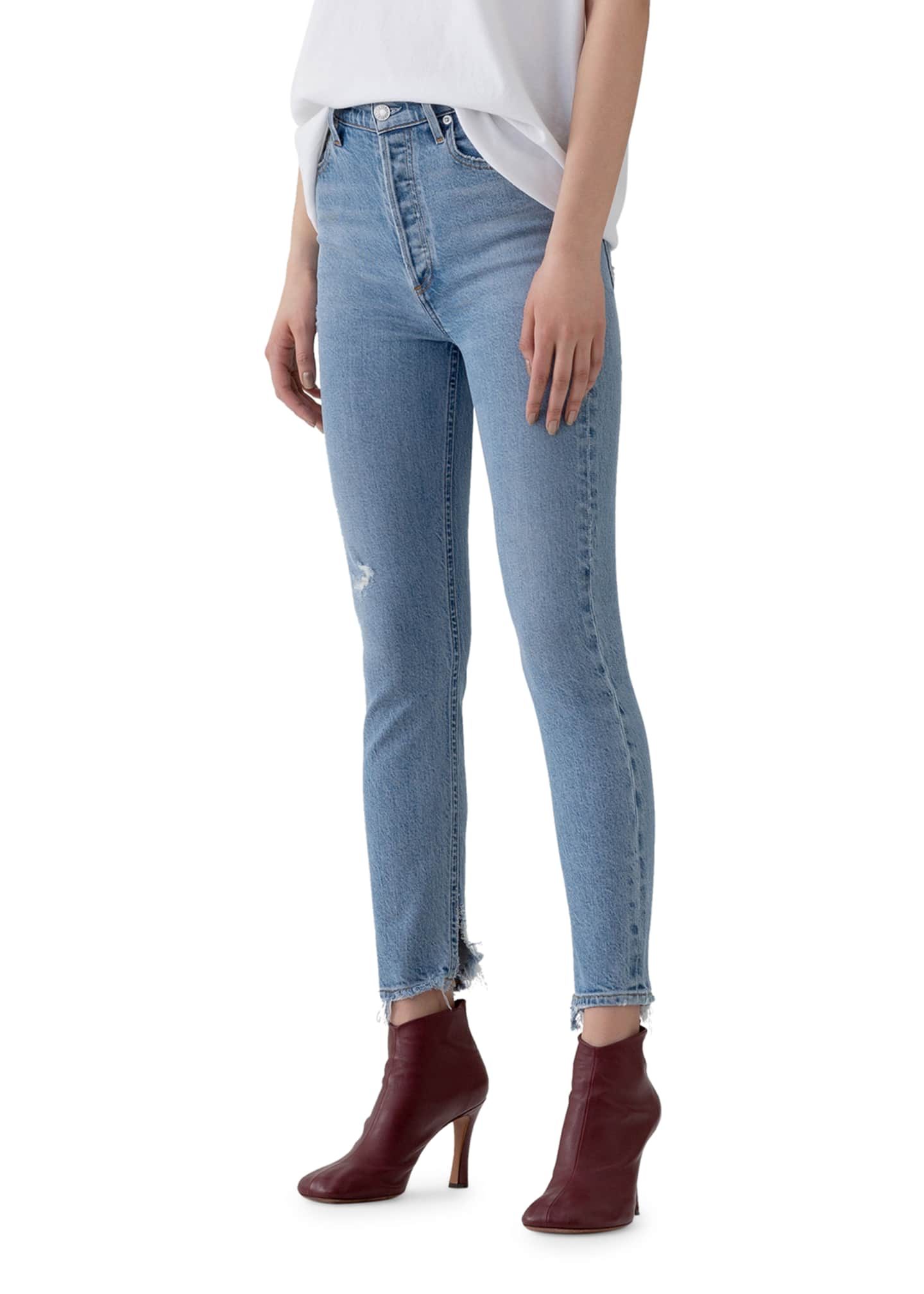 Image 2 of 3: Nico High-Rise Slim Jeans with Shredded Hem