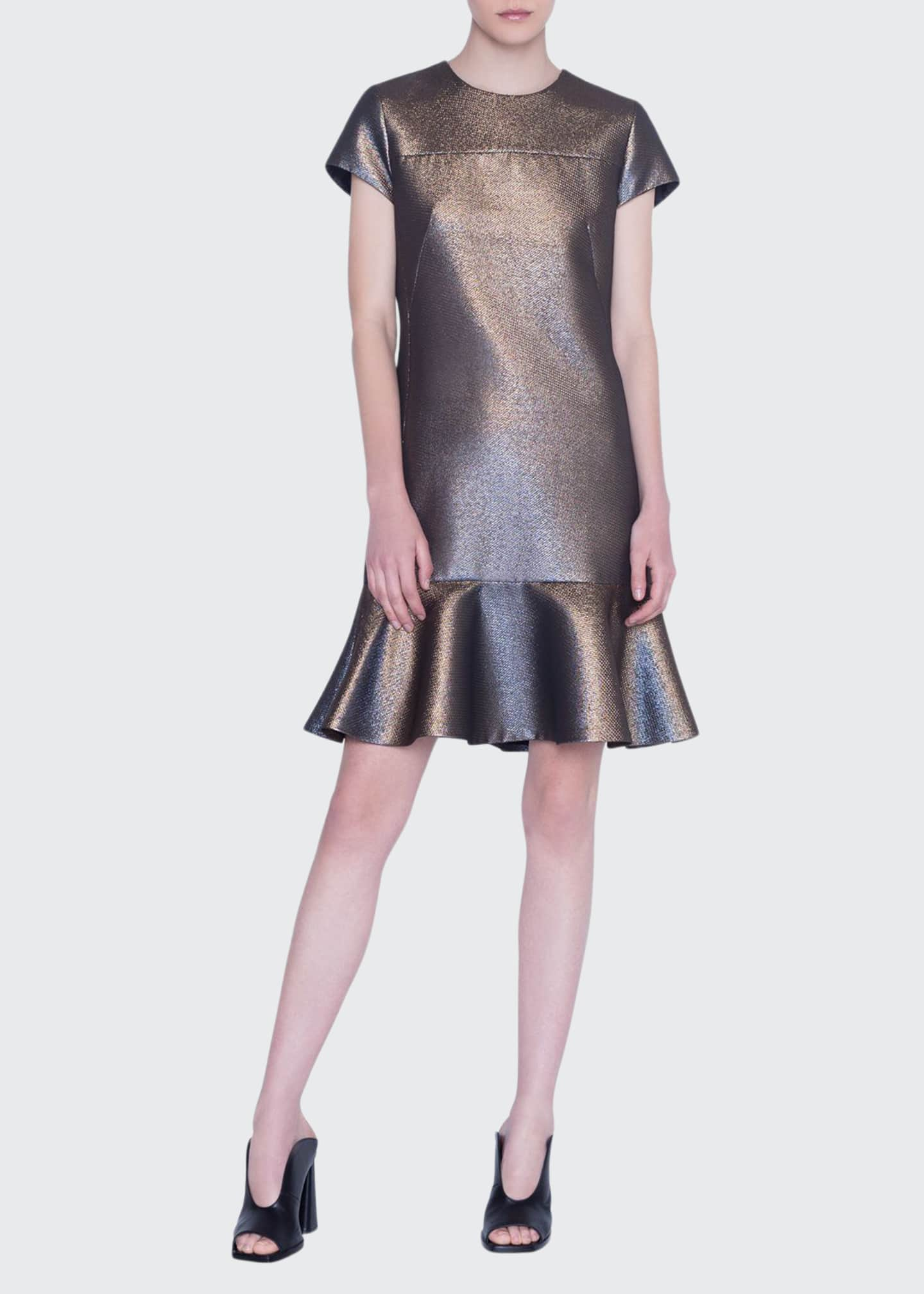 Akris punto Iridescent Gold Lame Dress