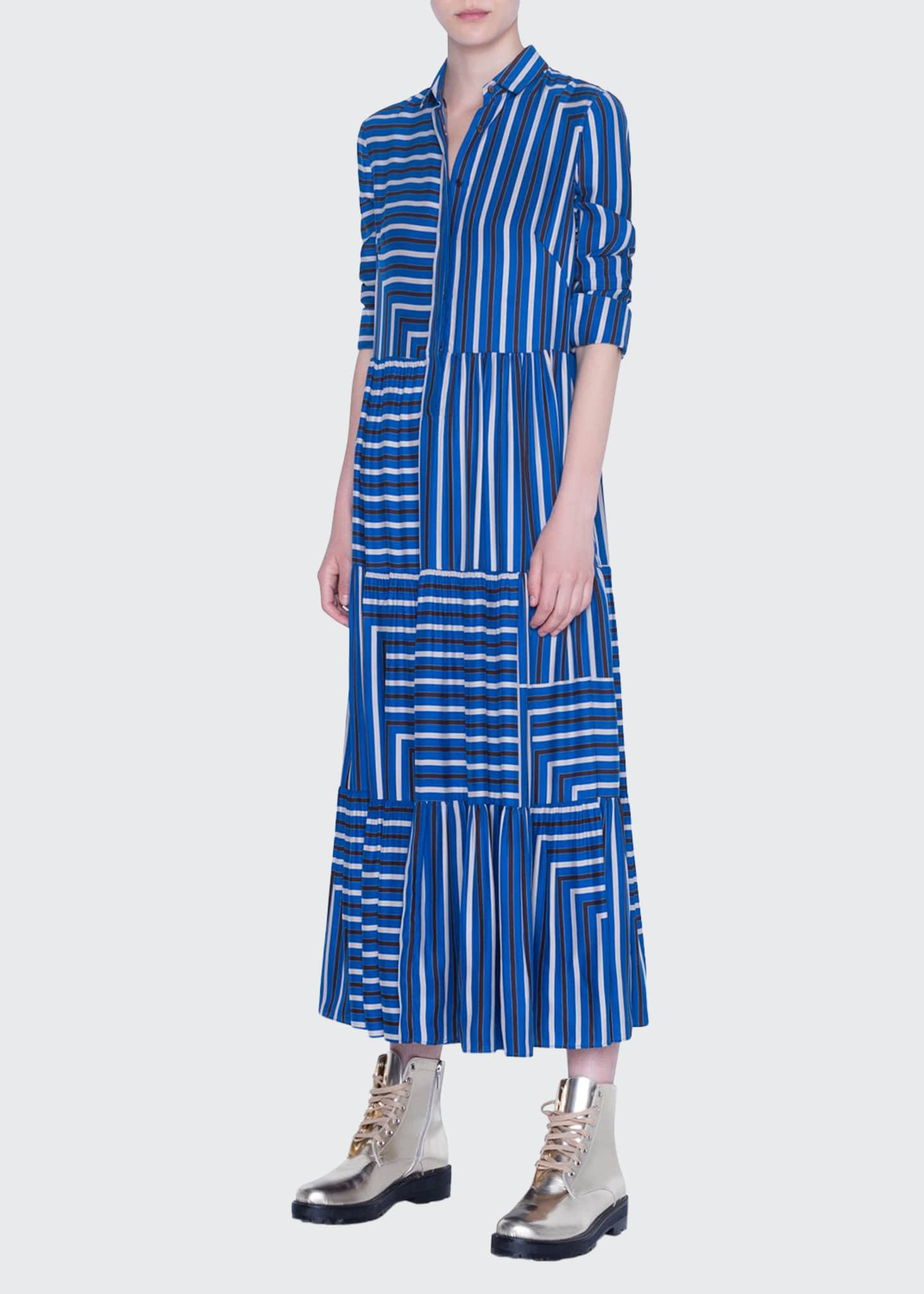 Akris punto Striped Silk Crepe de Chine Maxi