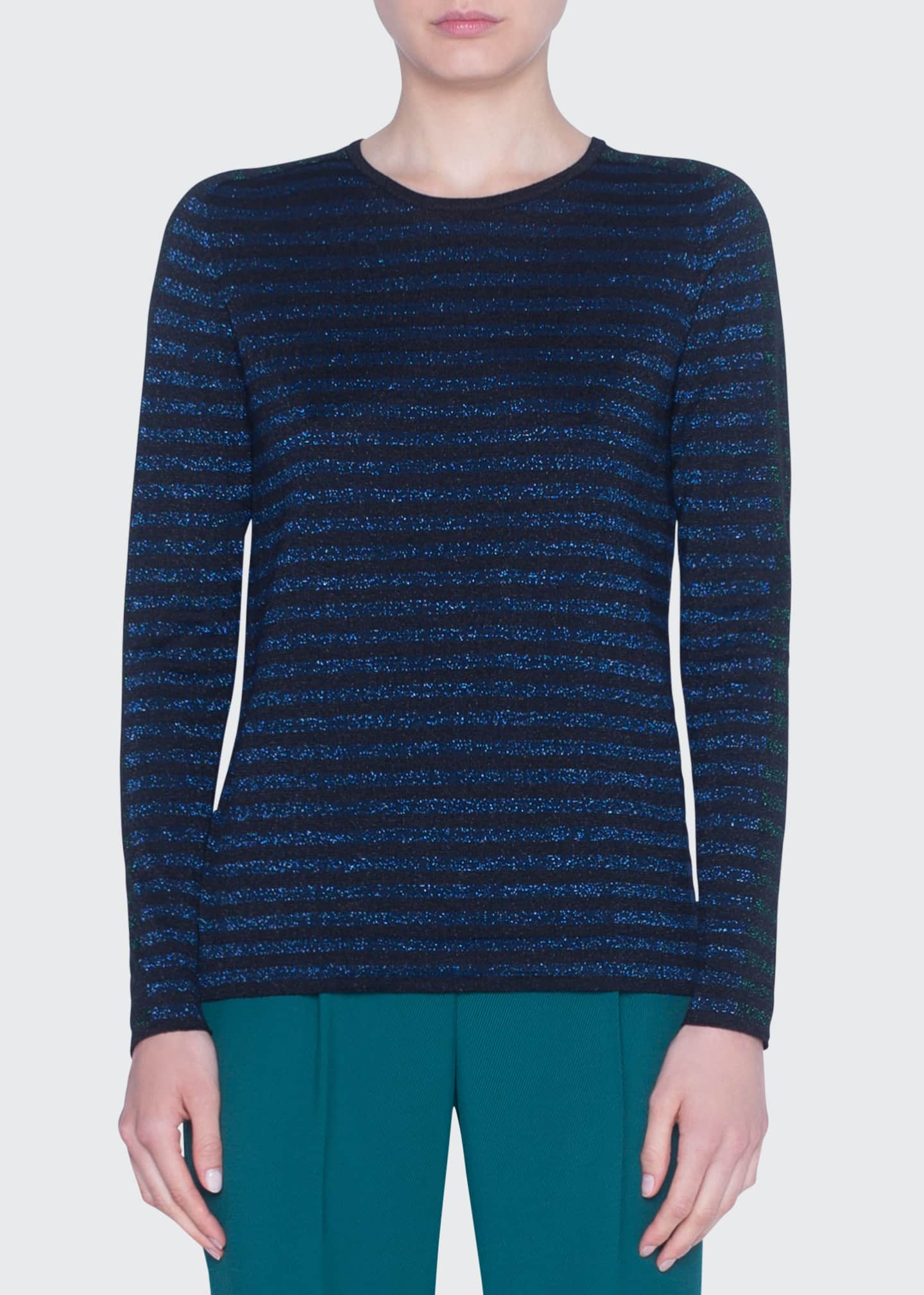 Glitter-Striped Crewneck Wool Sweater