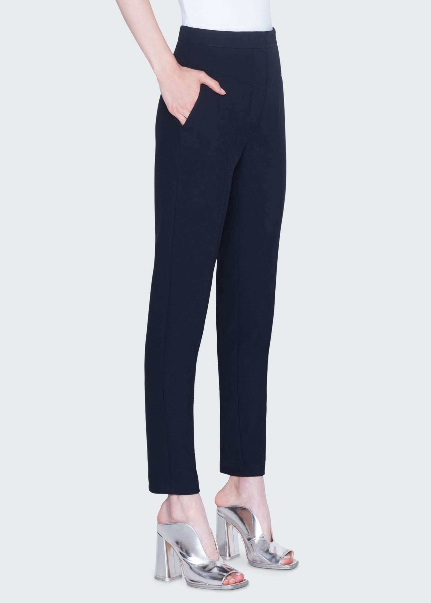 Image 1 of 2: Freya Pebbled Crepe High-Rise Pants