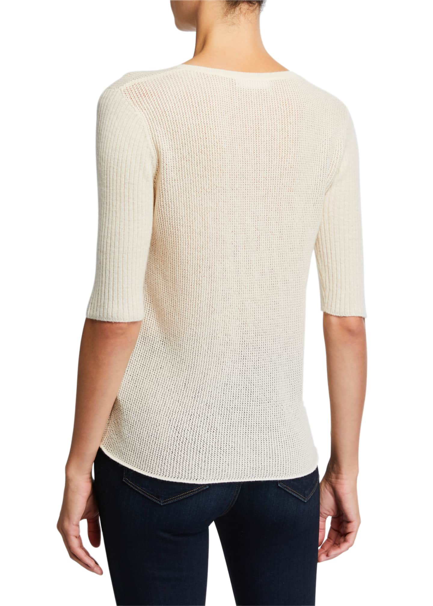 Image 2 of 2: Cashmere Elbow-Sleeve Crewneck Sweater