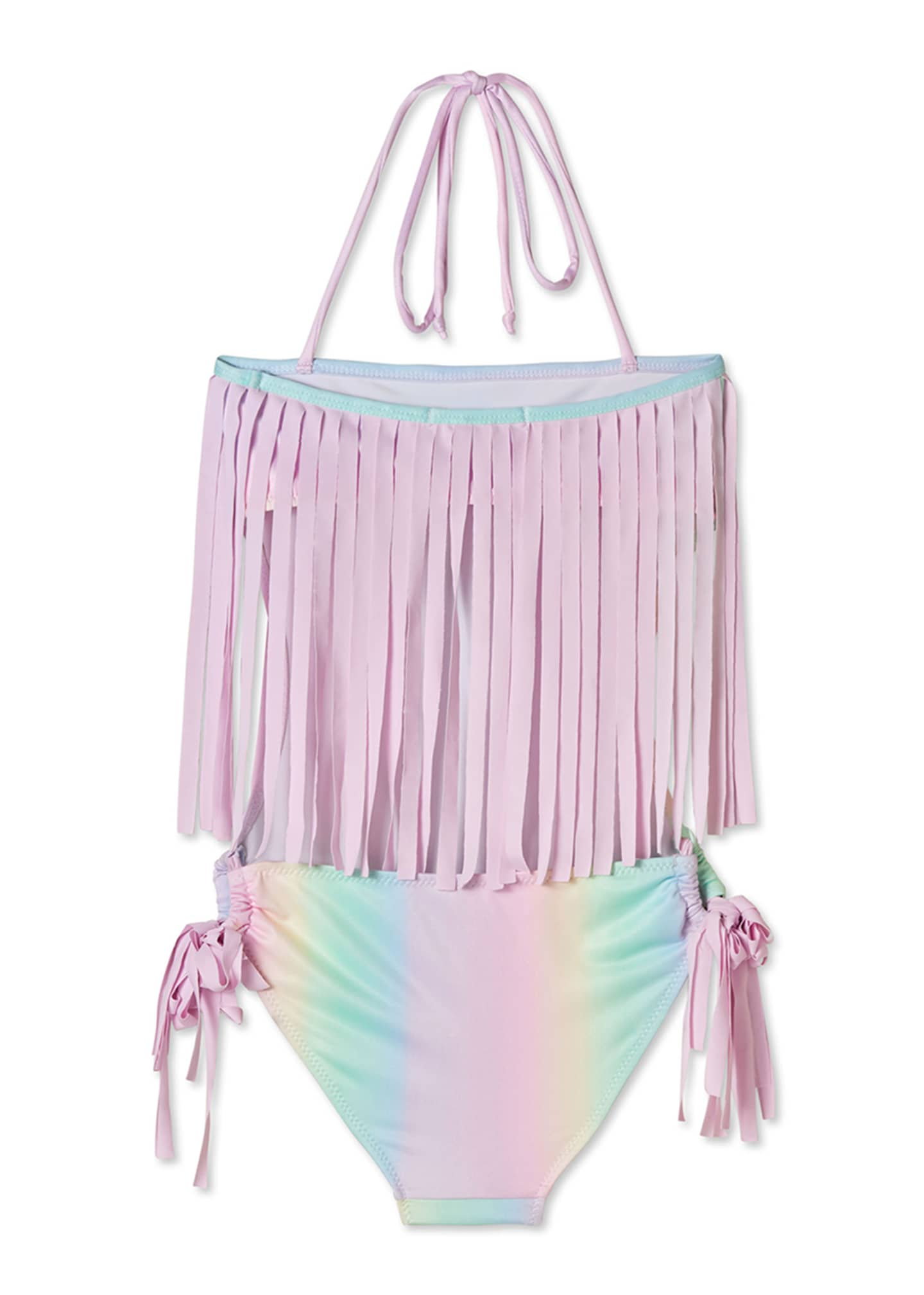 Image 2 of 2: Girls' Rainbow Open-Back One-Piece Swimsuit, 4T-14