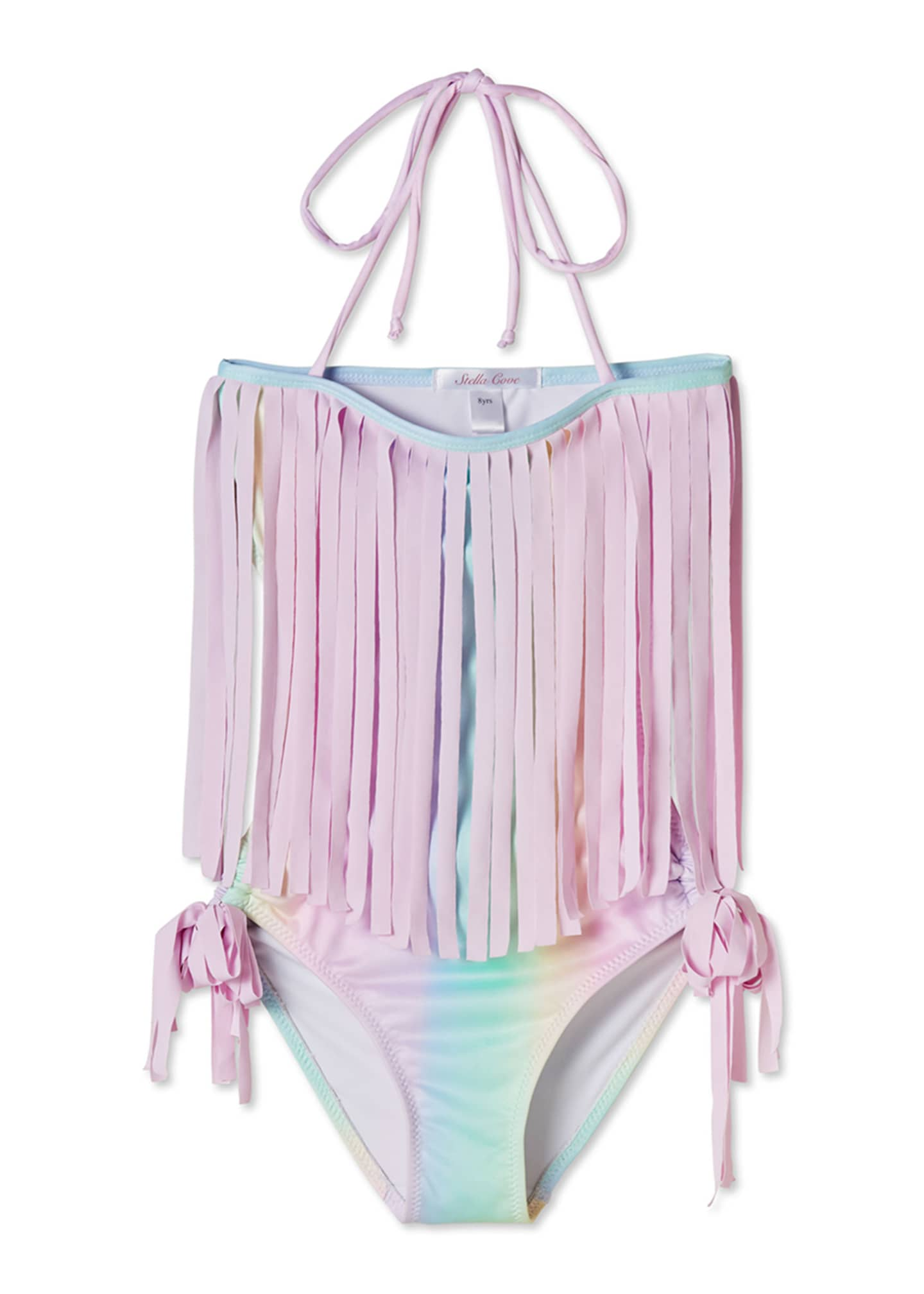 Image 1 of 2: Girls' Rainbow Open-Back One-Piece Swimsuit, 4T-14