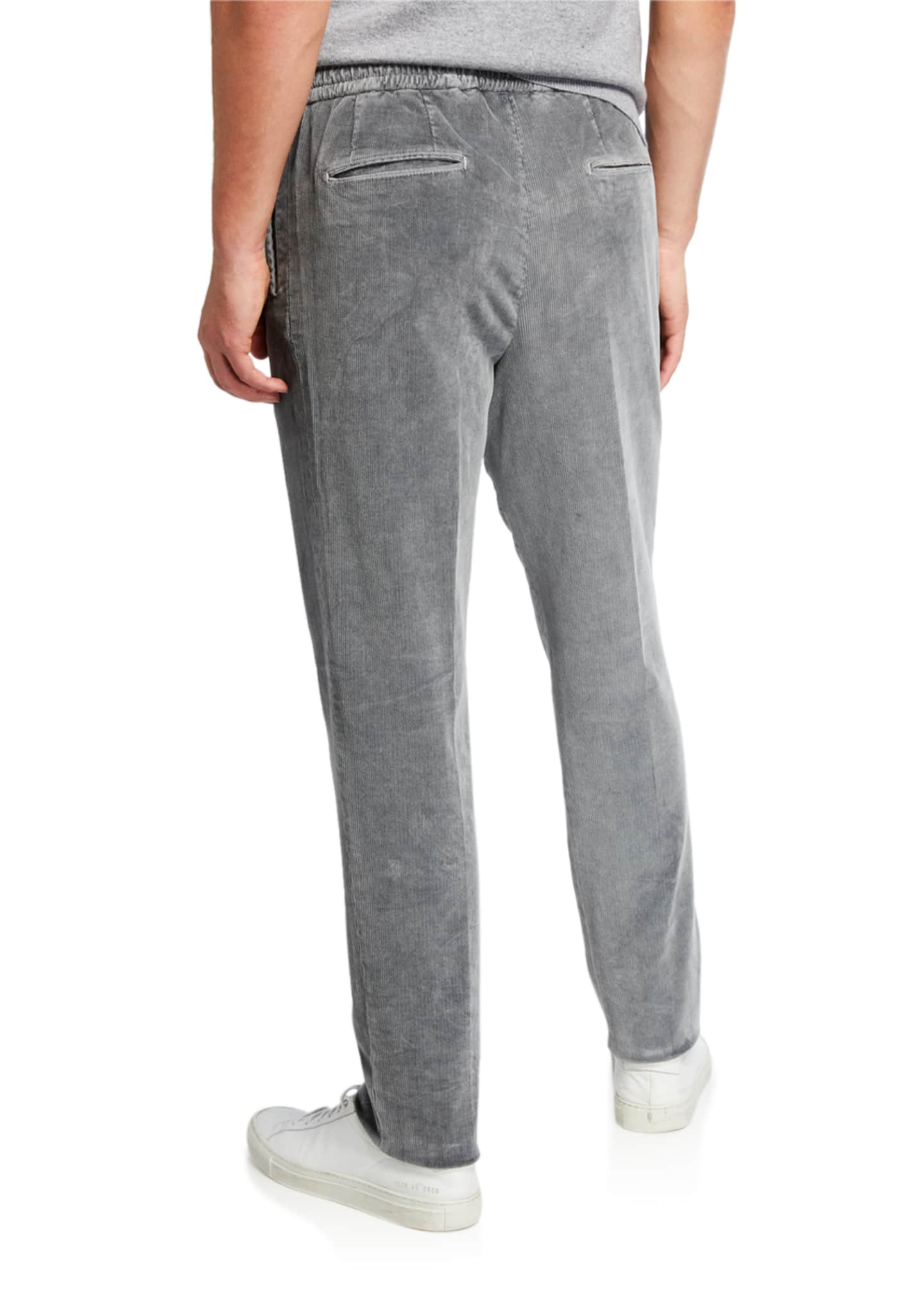 Image 2 of 3: Men's Pleated Corduroy Trousers with Elastic Waist, Gray