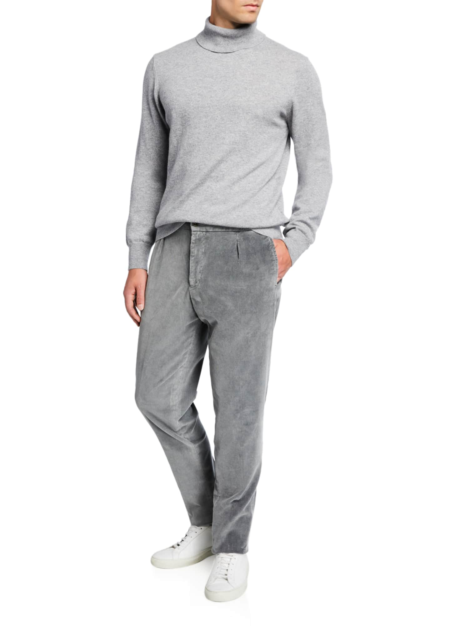 Image 3 of 3: Men's Pleated Corduroy Trousers with Elastic Waist, Gray