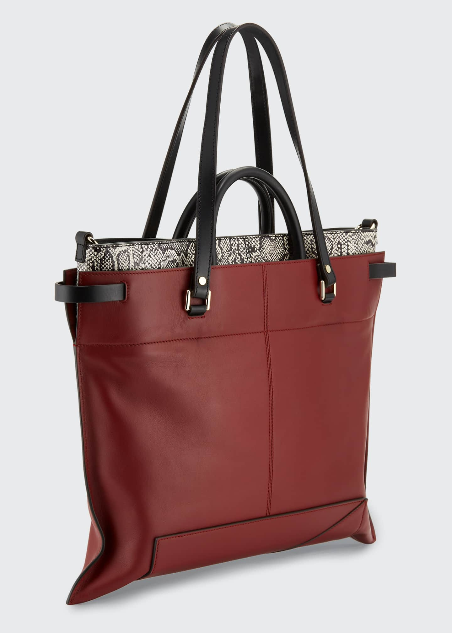 Image 2 of 3: PS19 Large Smooth Leather & Snakeskin Tote Bag