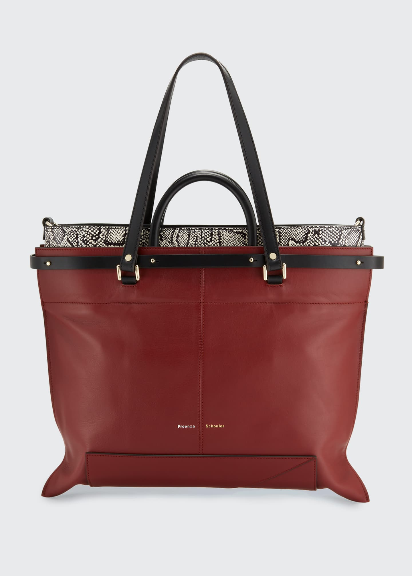 Image 1 of 3: PS19 Large Smooth Leather & Snakeskin Tote Bag
