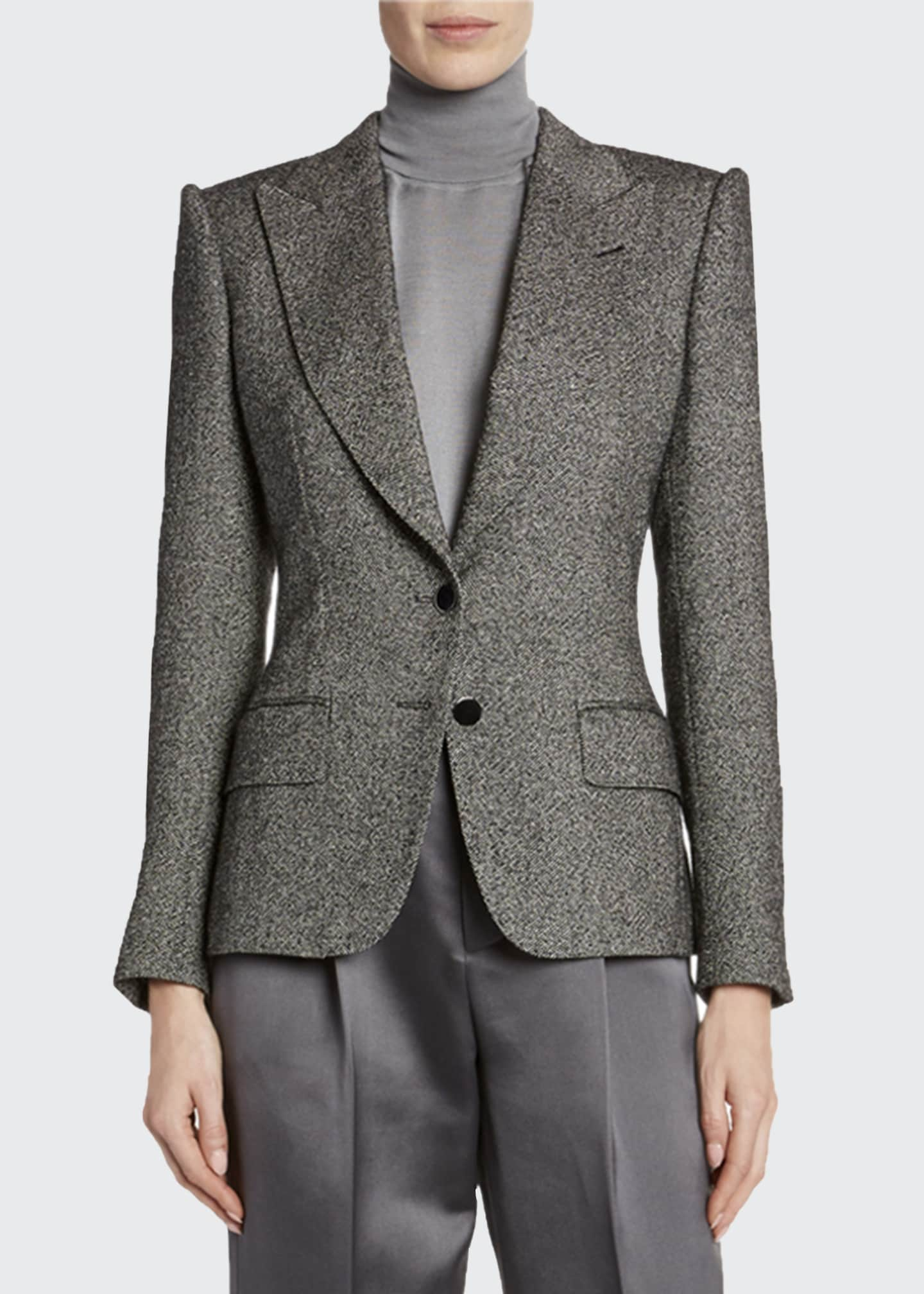 Image 3 of 3: Donegal-Tweed Strong-Shoulder Jacket